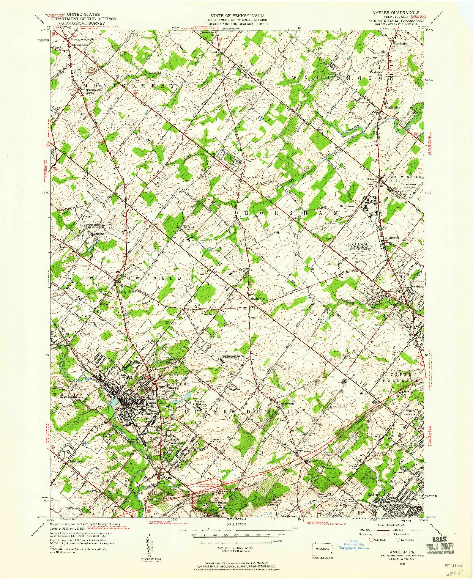 USGS 1:24000-SCALE QUADRANGLE FOR AMBLER, PA 1952