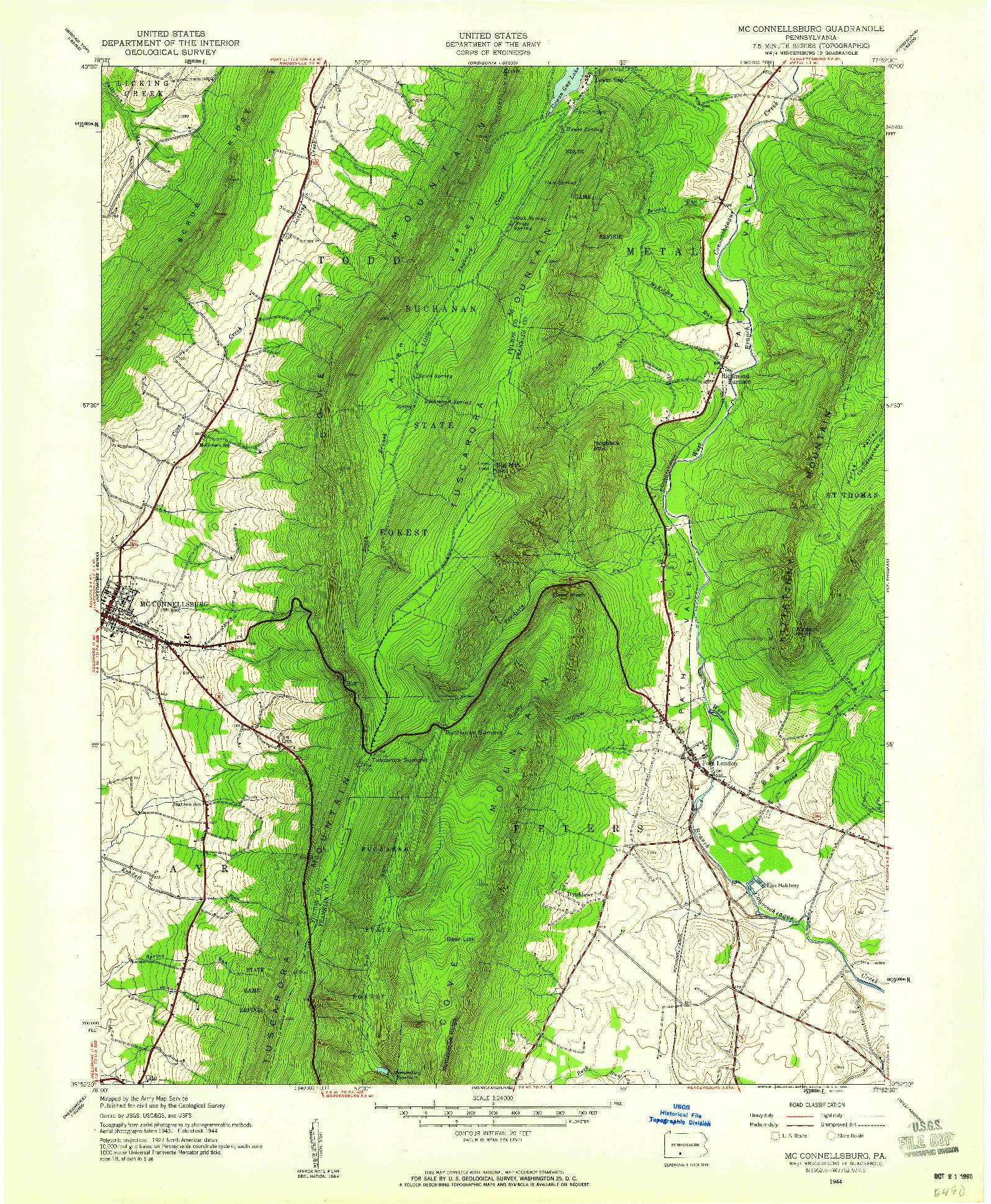 USGS 1:24000-SCALE QUADRANGLE FOR MC CONNELLSBURG, PA 1944