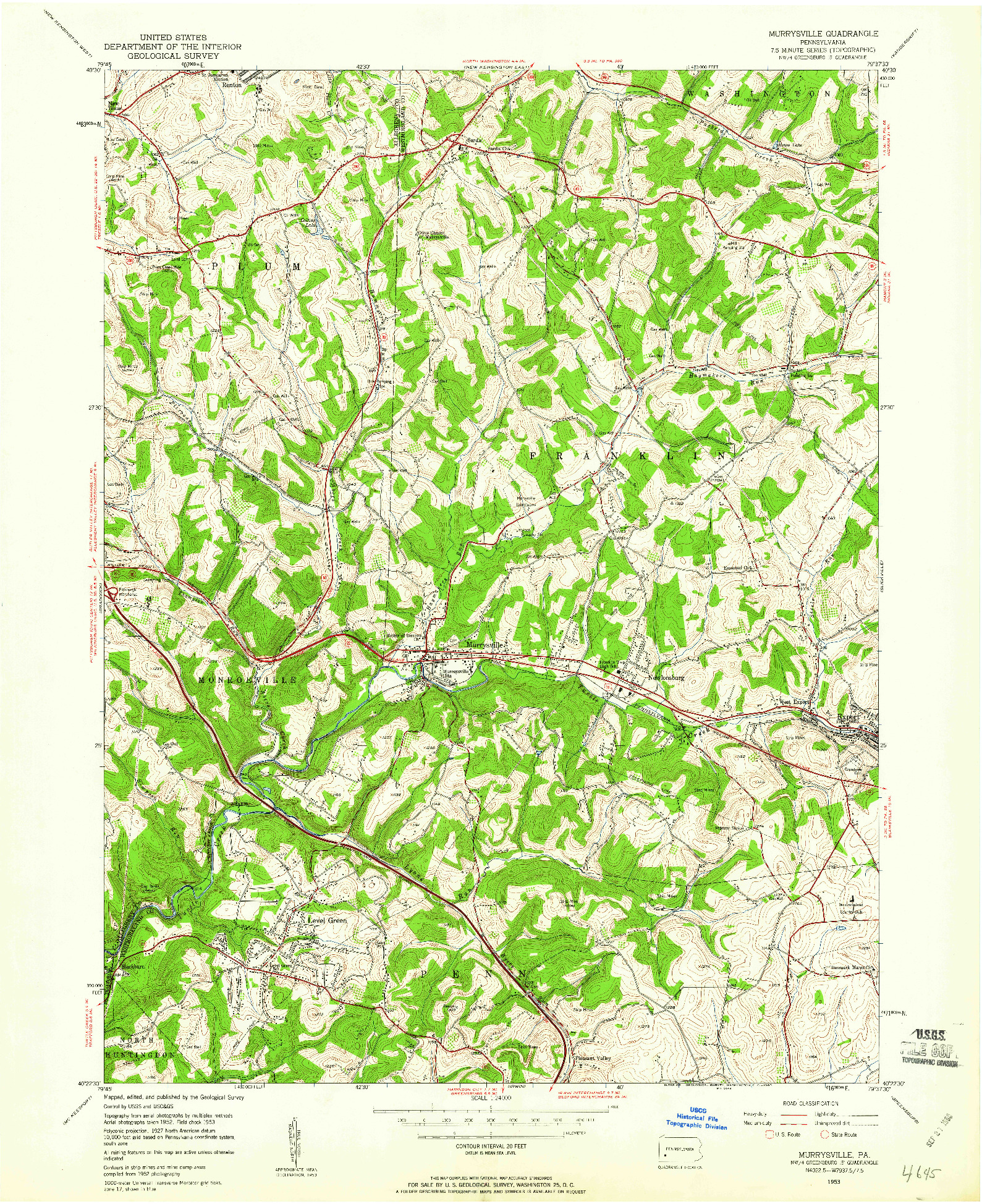 USGS 1:24000-SCALE QUADRANGLE FOR MURRYSVILLE, PA 1953