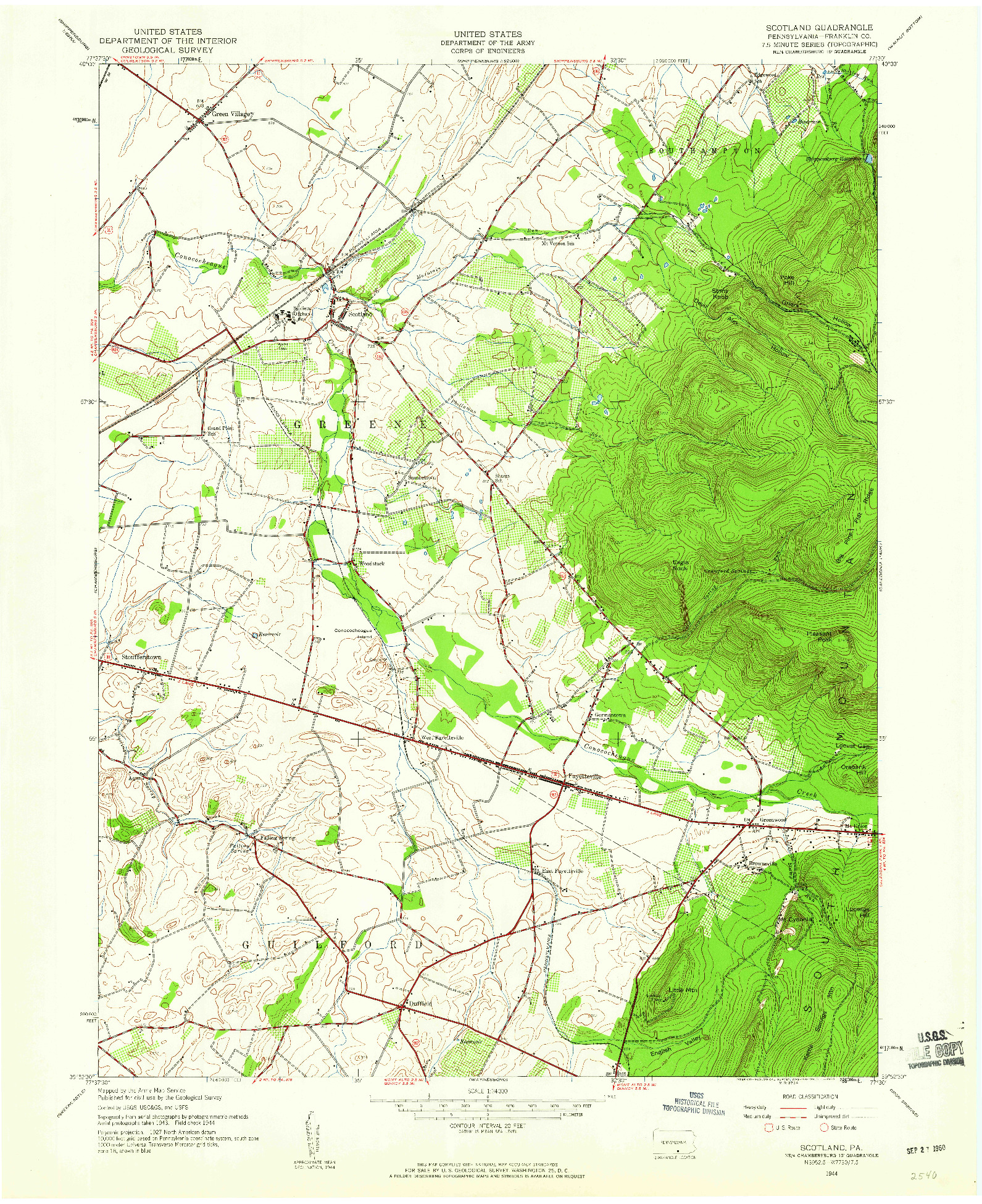 USGS 1:24000-SCALE QUADRANGLE FOR SCOTLAND, PA 1944