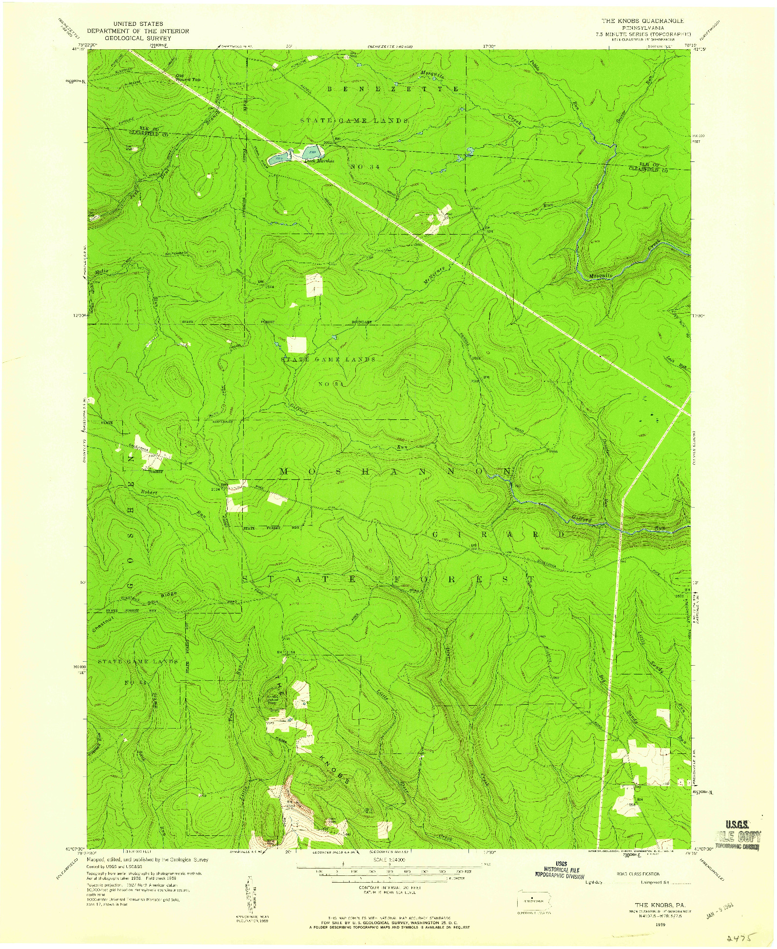 USGS 1:24000-SCALE QUADRANGLE FOR THE KNOBS, PA 1959