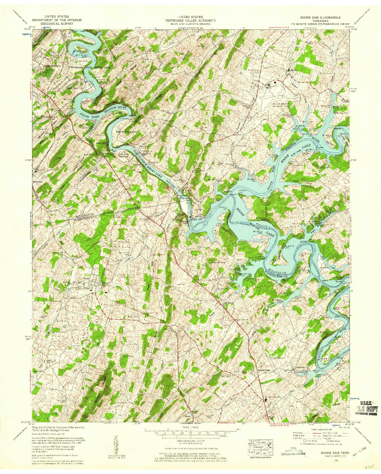 USGS 1:24000-SCALE QUADRANGLE FOR BOONE DAM, TN 1959