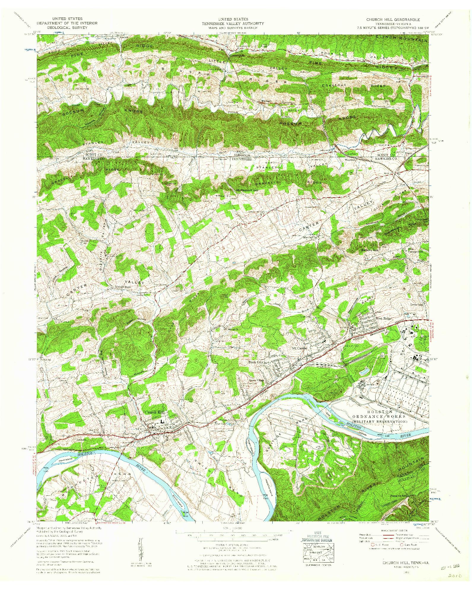 USGS 1:24000-SCALE QUADRANGLE FOR CHURCH HILL, TN 1959