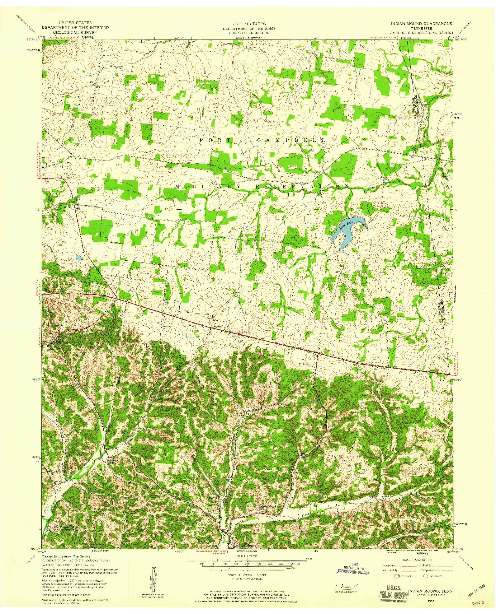 USGS 1:24000-SCALE QUADRANGLE FOR INDIAN MOUND, TN 1957