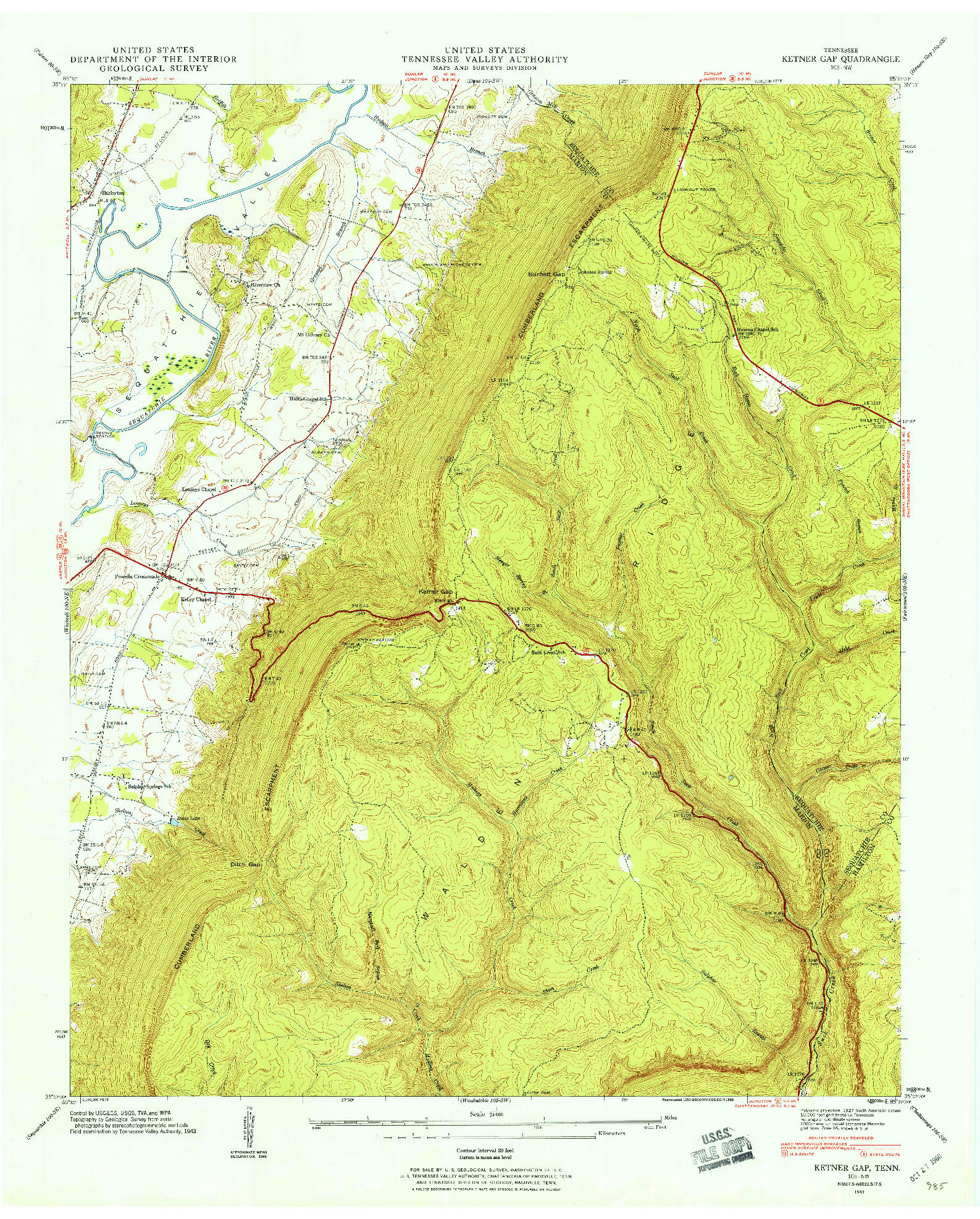 USGS 1:24000-SCALE QUADRANGLE FOR KETNER GAP, TN 1943