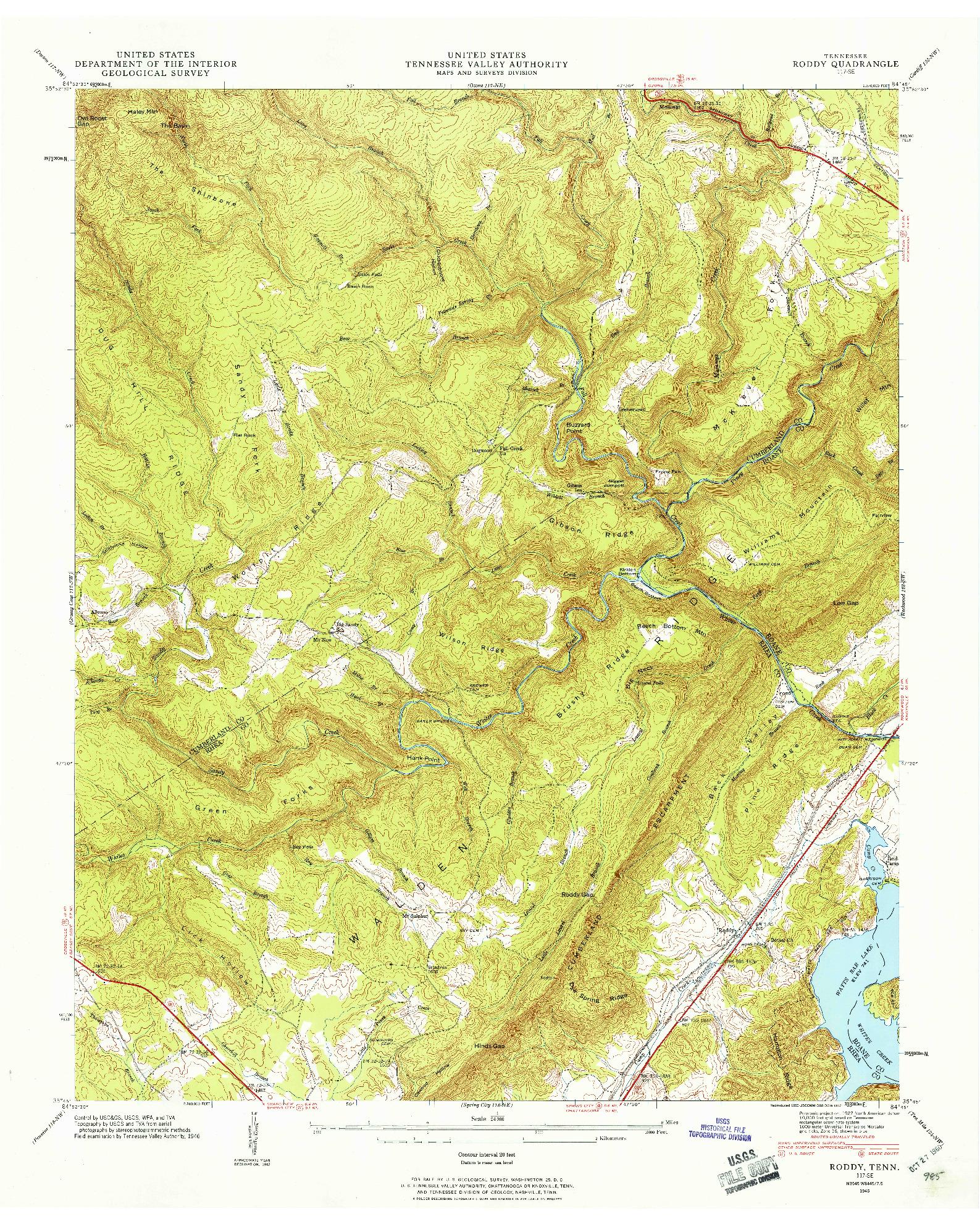 USGS 1:24000-SCALE QUADRANGLE FOR RODDY, TN 1946