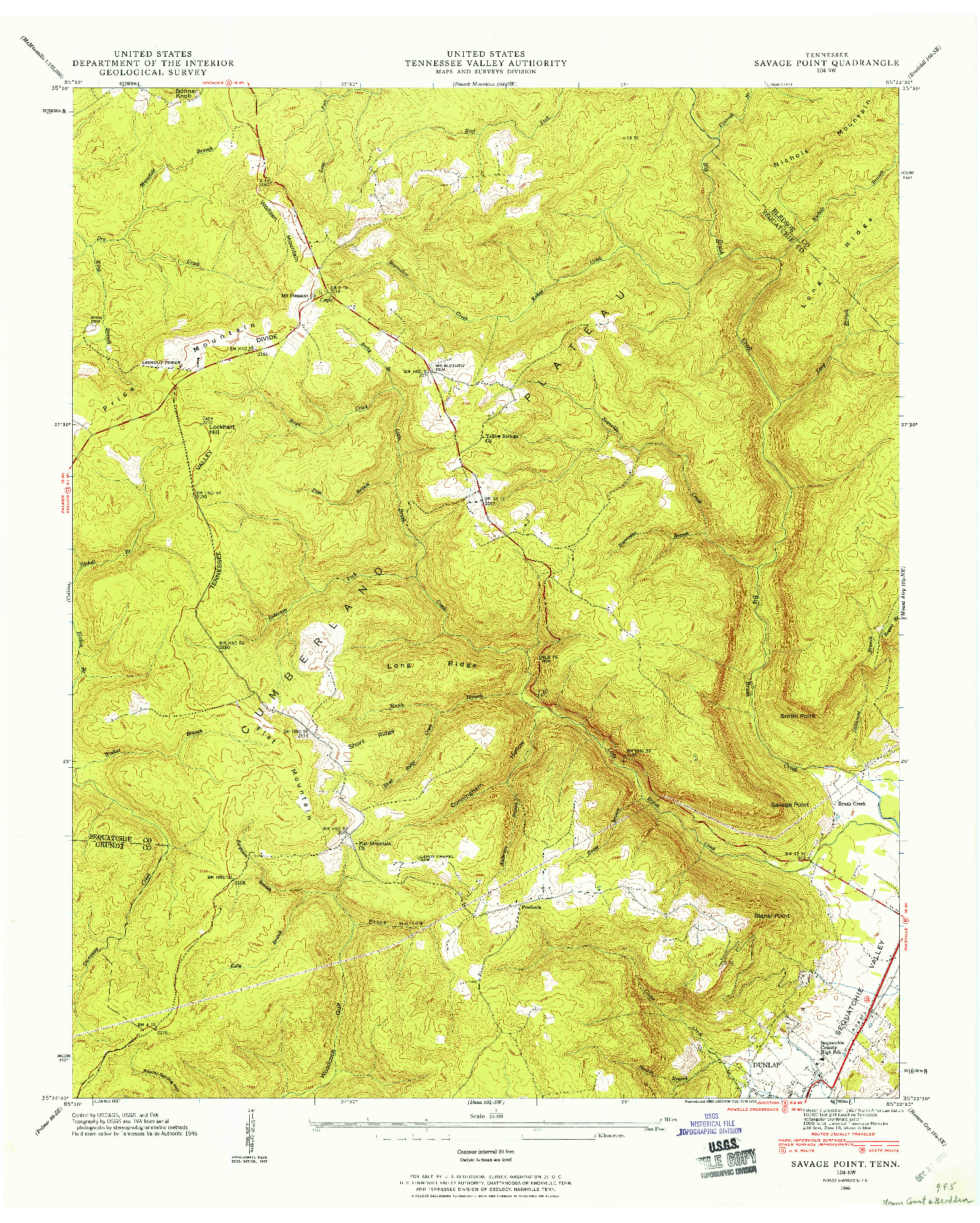 USGS 1:24000-SCALE QUADRANGLE FOR SAVAGE POINT, TN 1946