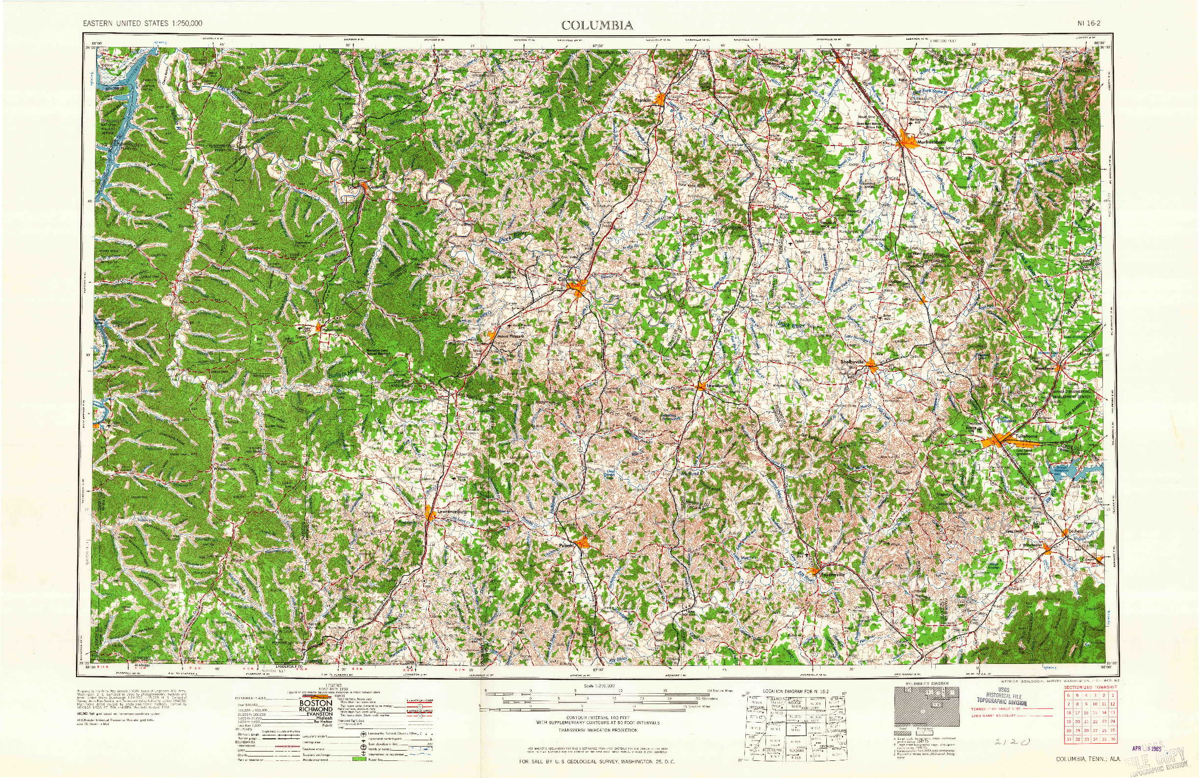 USGS 1:250000-SCALE QUADRANGLE FOR COLUMBIA, TN 1956