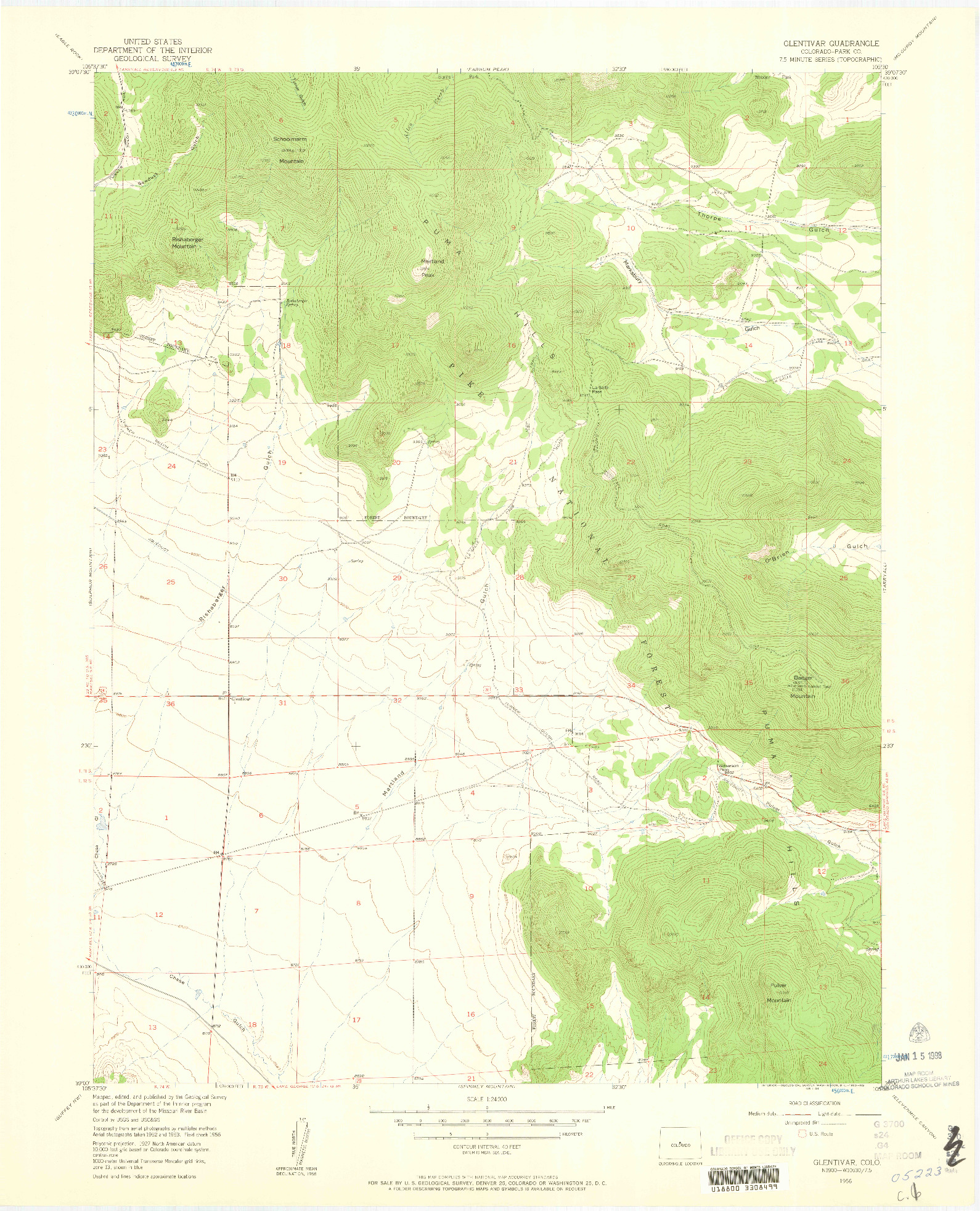 USGS 1:24000-SCALE QUADRANGLE FOR GLENTIVAR, CO 1956