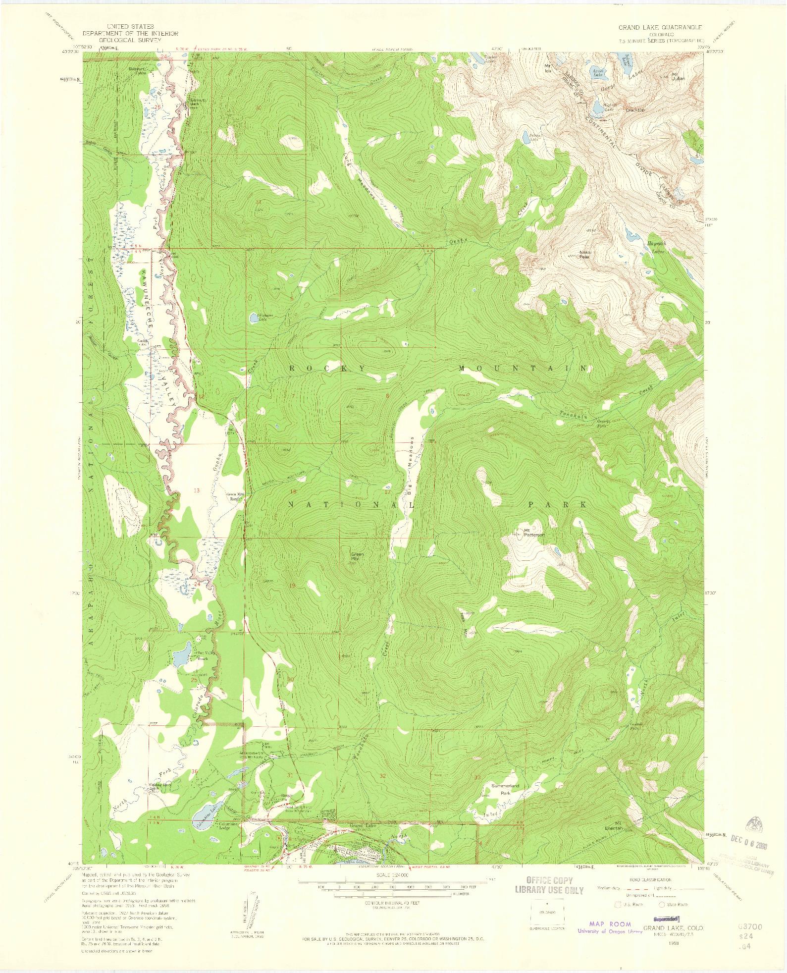 USGS 1:24000-SCALE QUADRANGLE FOR GRAND LAKE, CO 1958