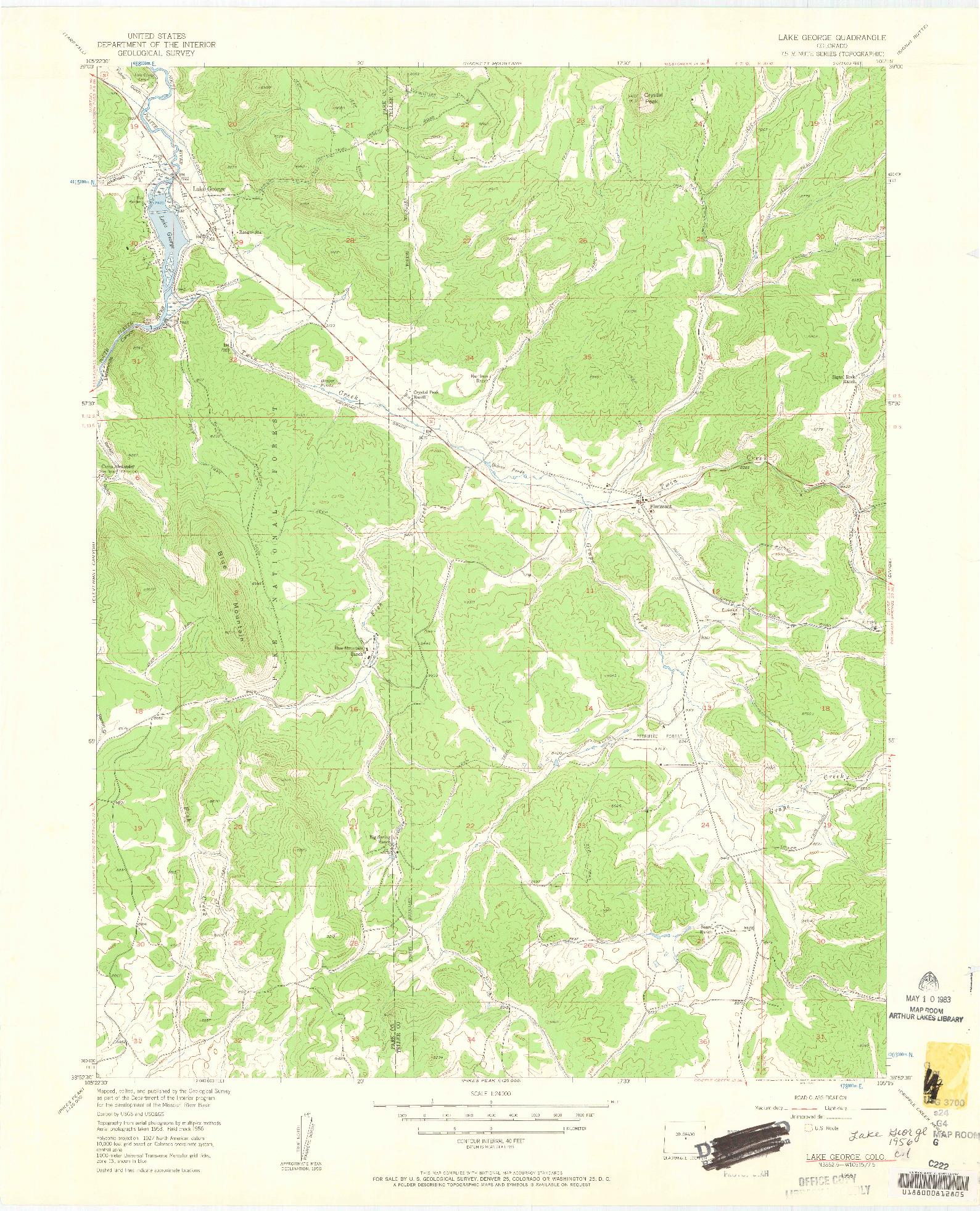 USGS 1:24000-SCALE QUADRANGLE FOR LAKE GEORGE, CO 1956