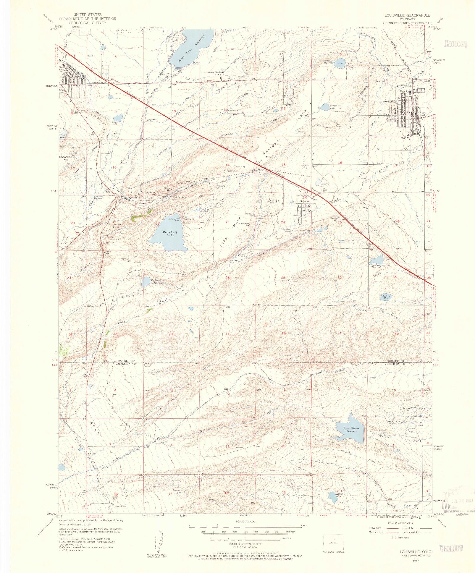 USGS 1:24000-SCALE QUADRANGLE FOR LOUISVILLE, CO 1957