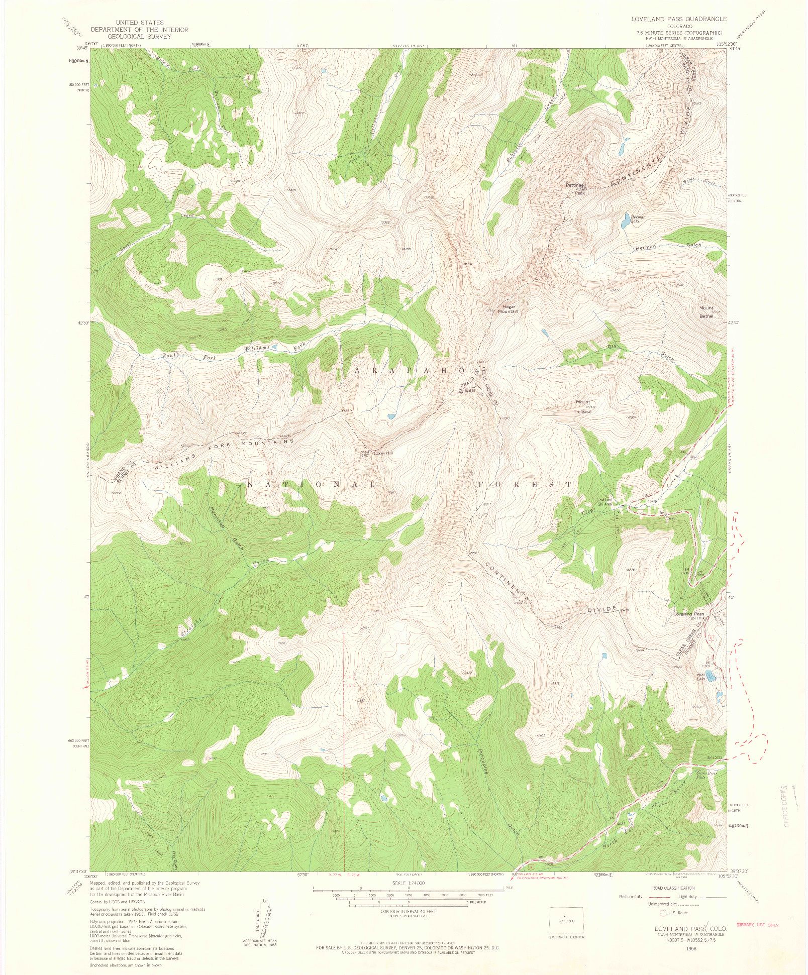 USGS 1:24000-SCALE QUADRANGLE FOR LOVELAND PASS, CO 1958