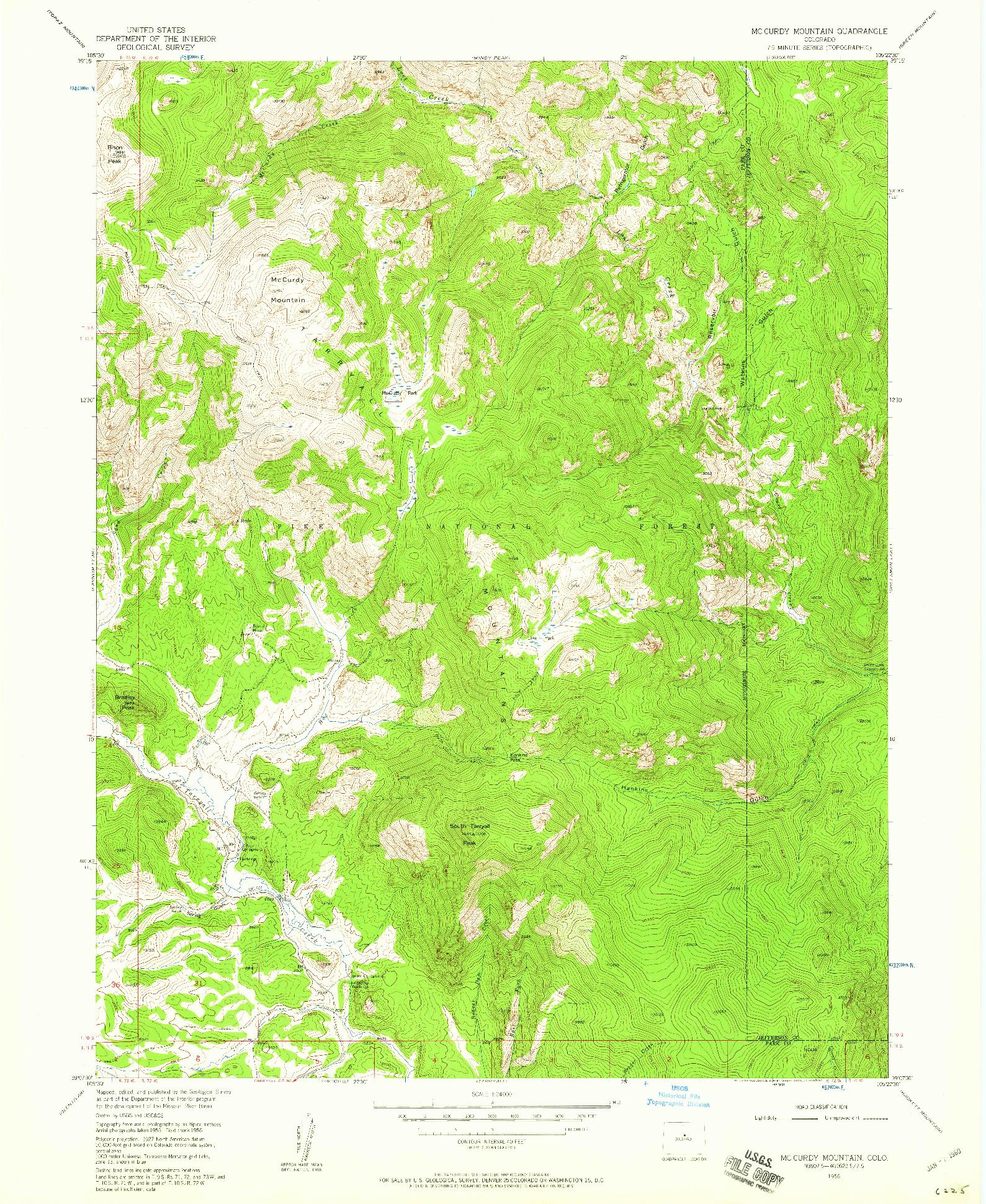 USGS 1:24000-SCALE QUADRANGLE FOR MC CURDY MOUNTAIN, CO 1956