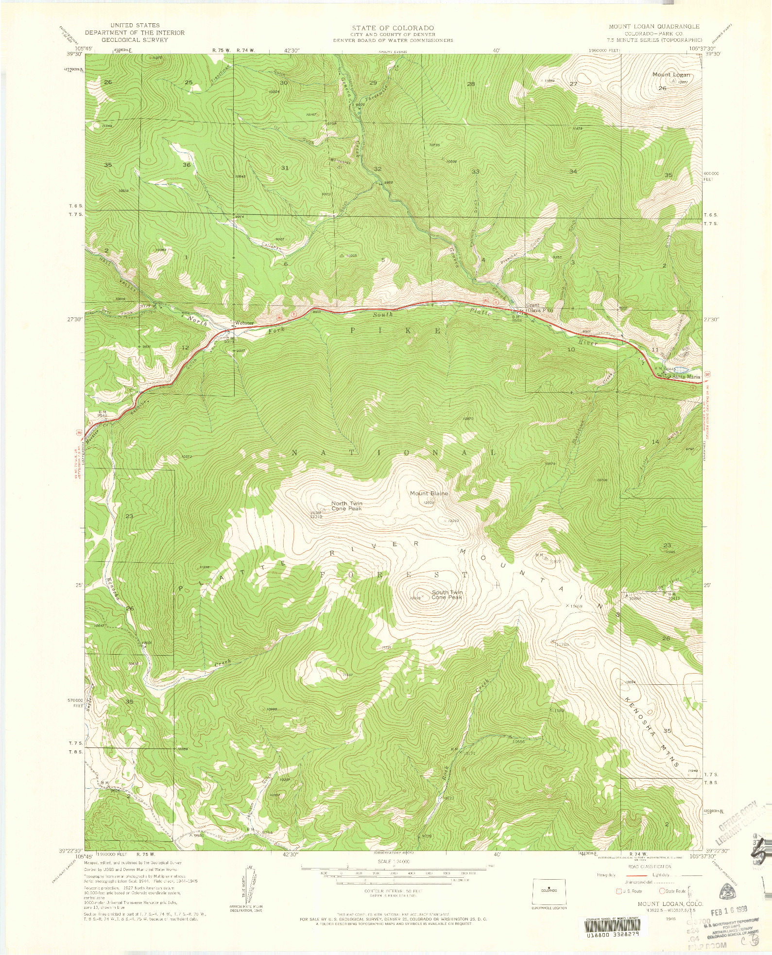 USGS 1:24000-SCALE QUADRANGLE FOR MOUNT LOGAN, CO 1945