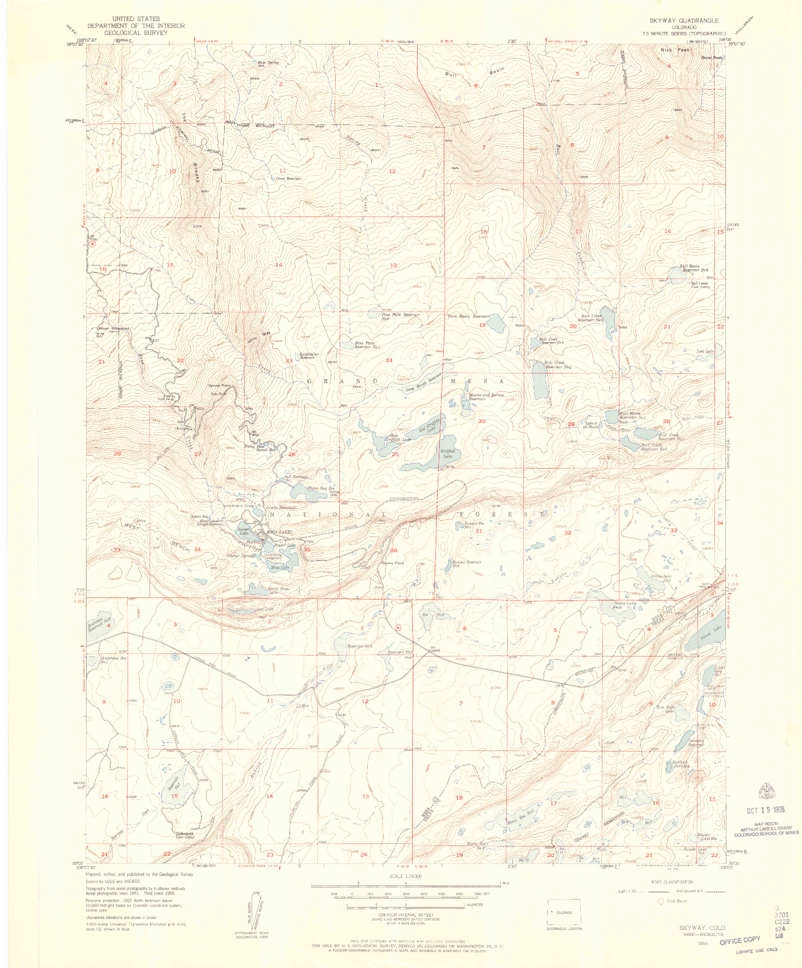 USGS 1:24000-SCALE QUADRANGLE FOR SKYWAY, CO 1955