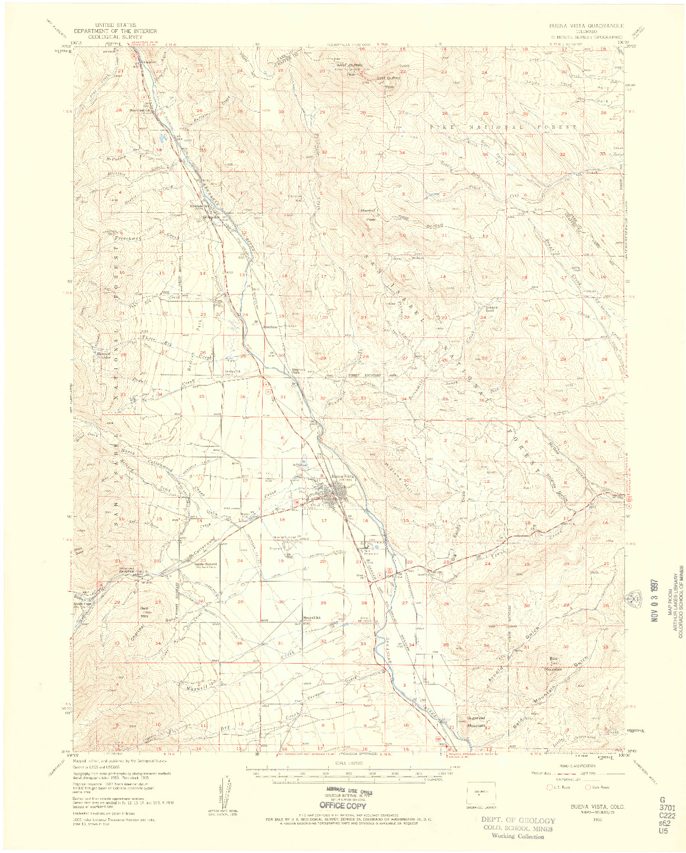USGS 1:62500-SCALE QUADRANGLE FOR BUENA VISTA, CO 1955