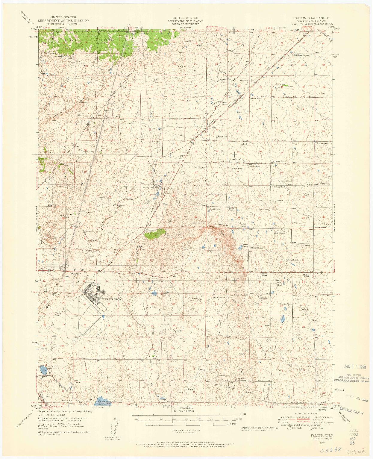 USGS 1:62500-SCALE QUADRANGLE FOR FALCON, CO 1948
