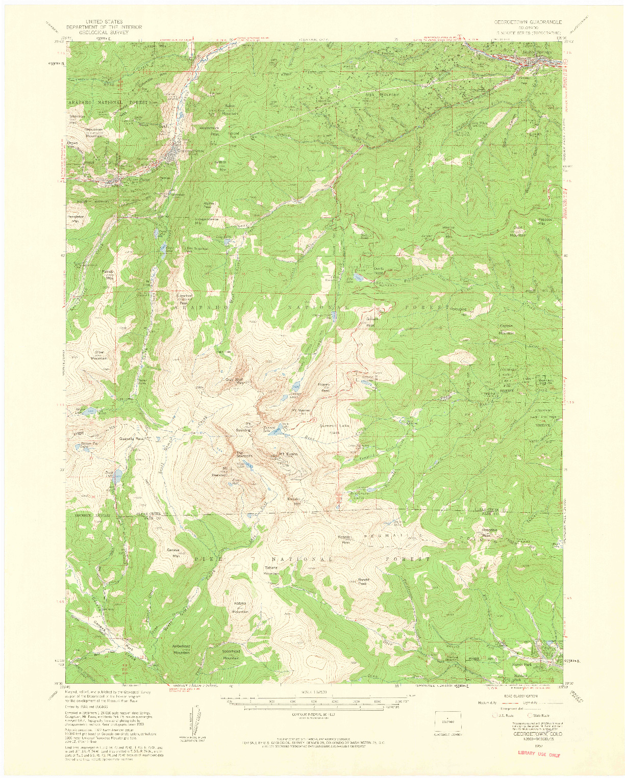 USGS 1:62500-SCALE QUADRANGLE FOR GEORGETOWN, CO 1957