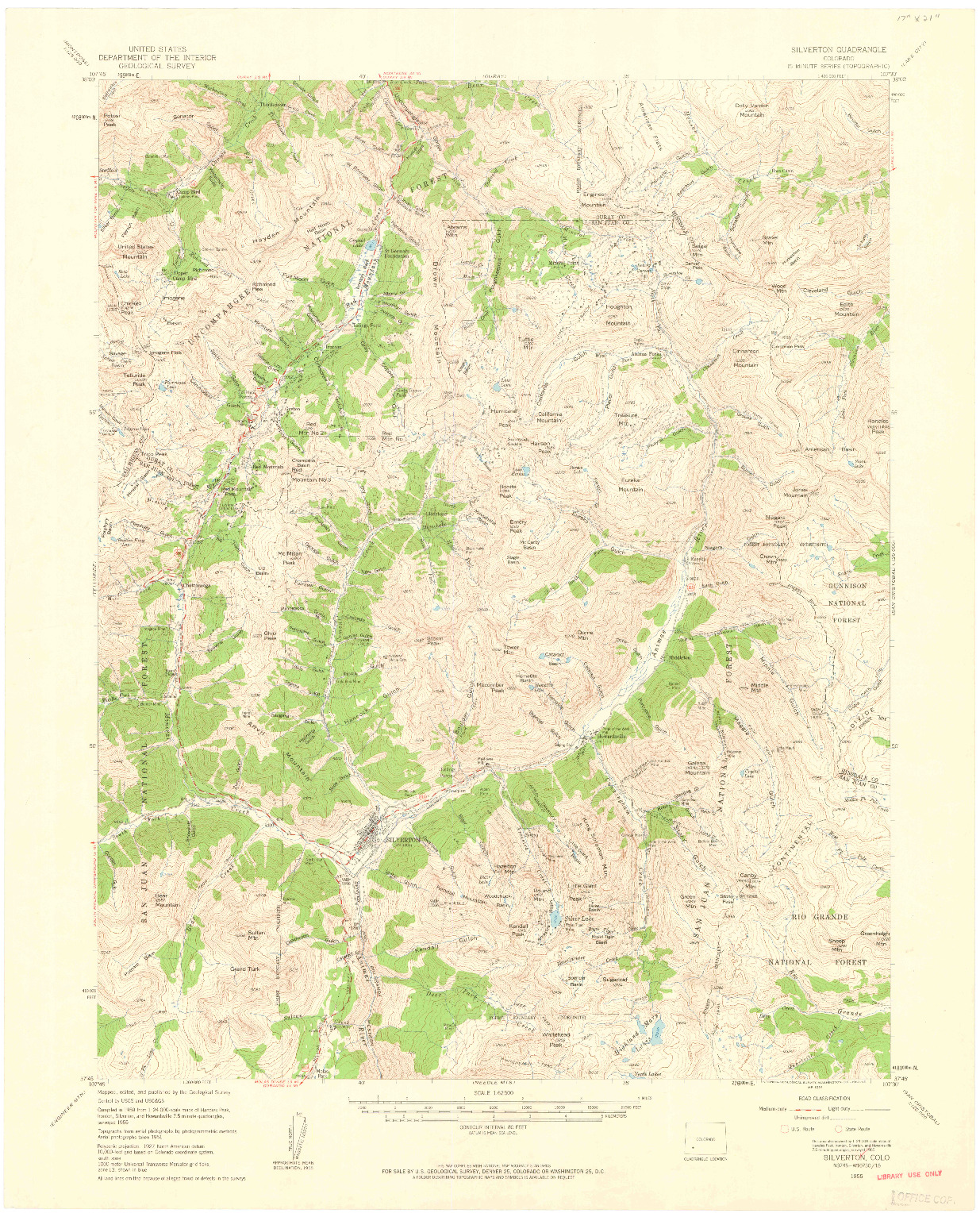 USGS 1:62500-SCALE QUADRANGLE FOR SILVERTON, CO 1955