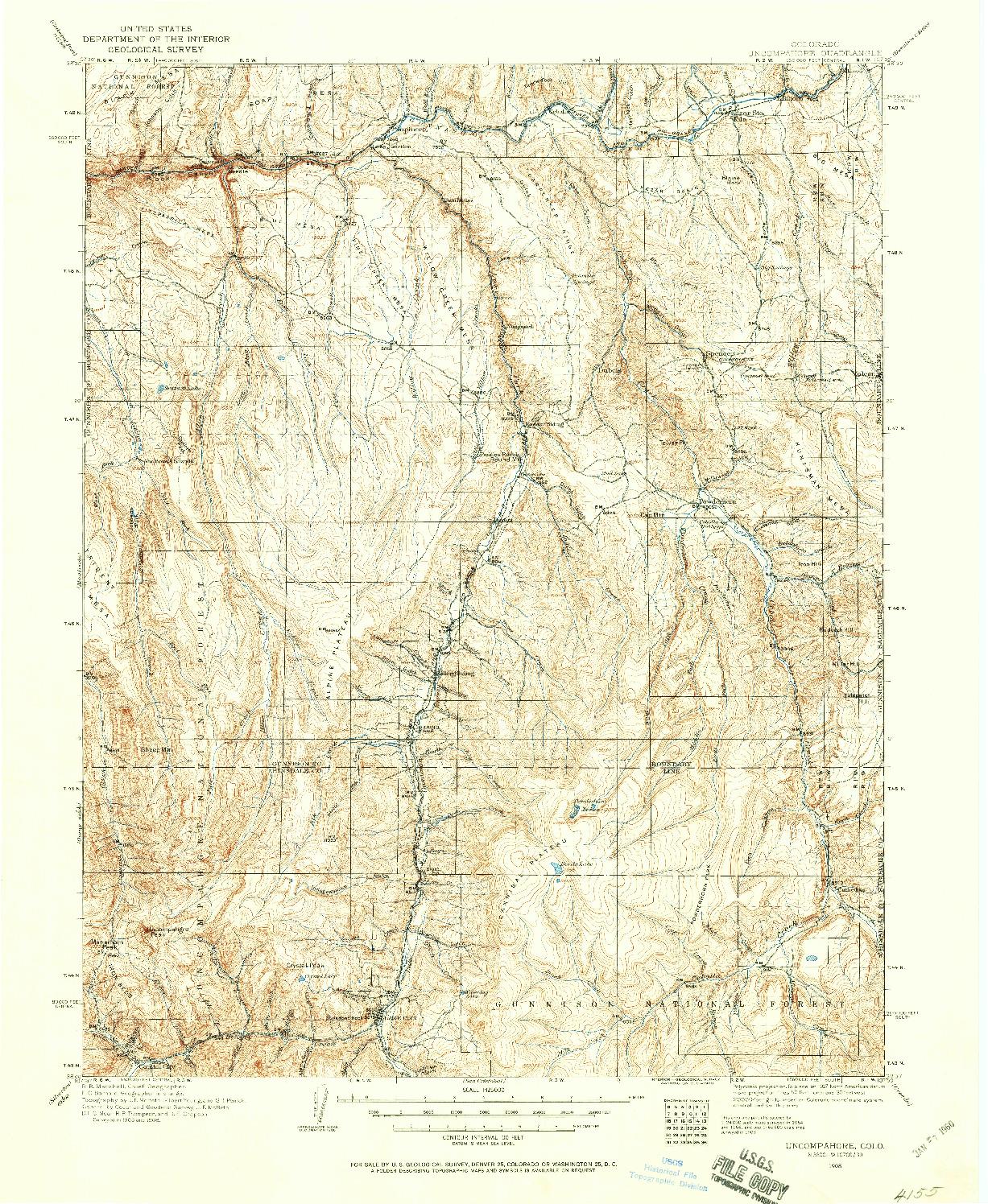 USGS 1:125000-SCALE QUADRANGLE FOR UNCOMPAHGRE, CO 1908
