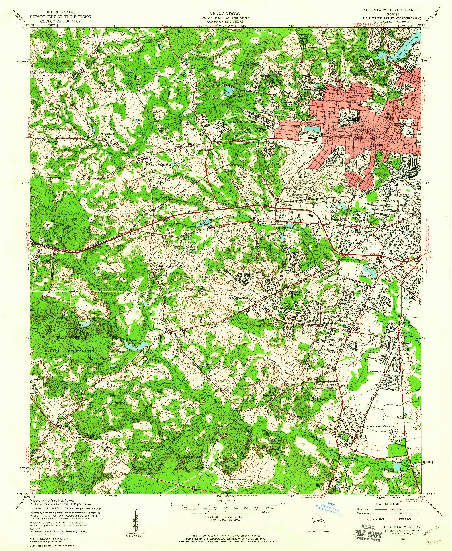 USGS 1:24000-SCALE QUADRANGLE FOR AUGUSTA WEST, GA 1957