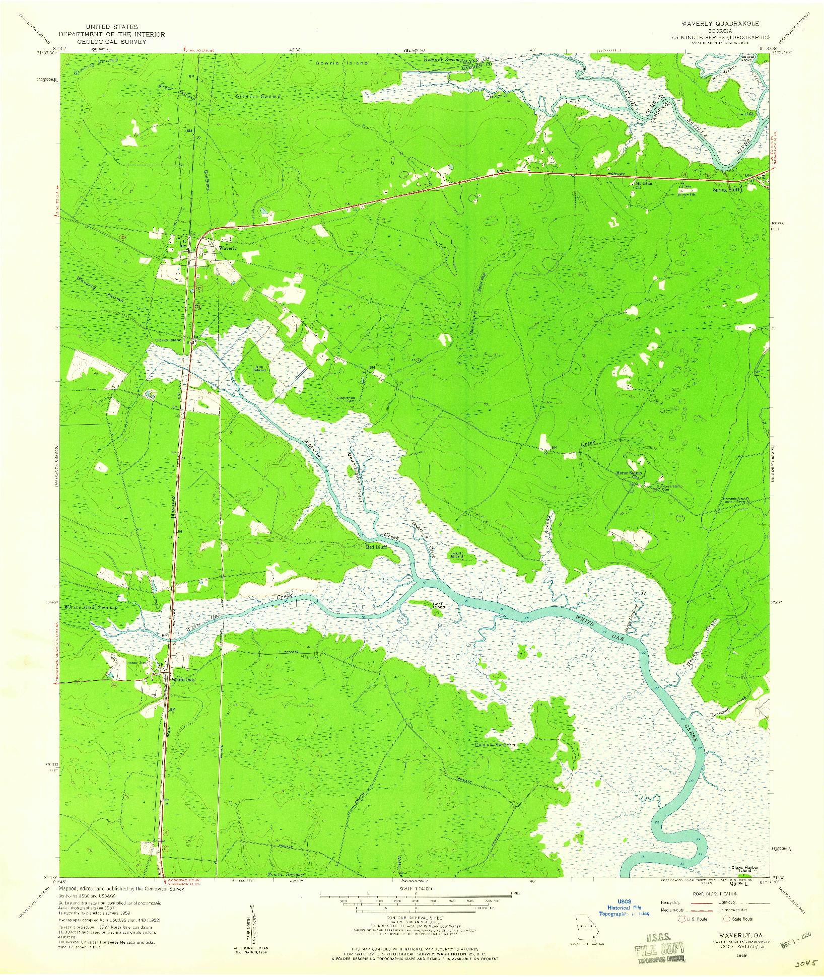 USGS 1:24000-SCALE QUADRANGLE FOR WAVERLY, GA 1959