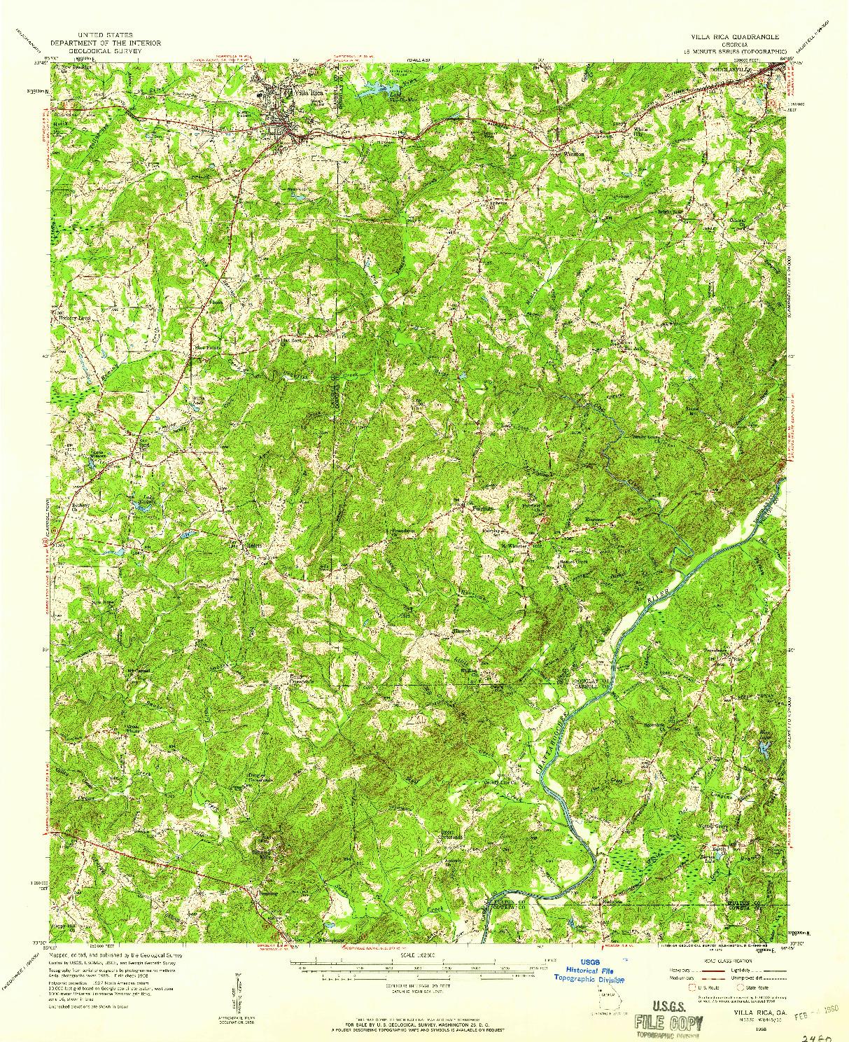 USGS 1:62500-SCALE QUADRANGLE FOR VILLA RICA, GA 1958