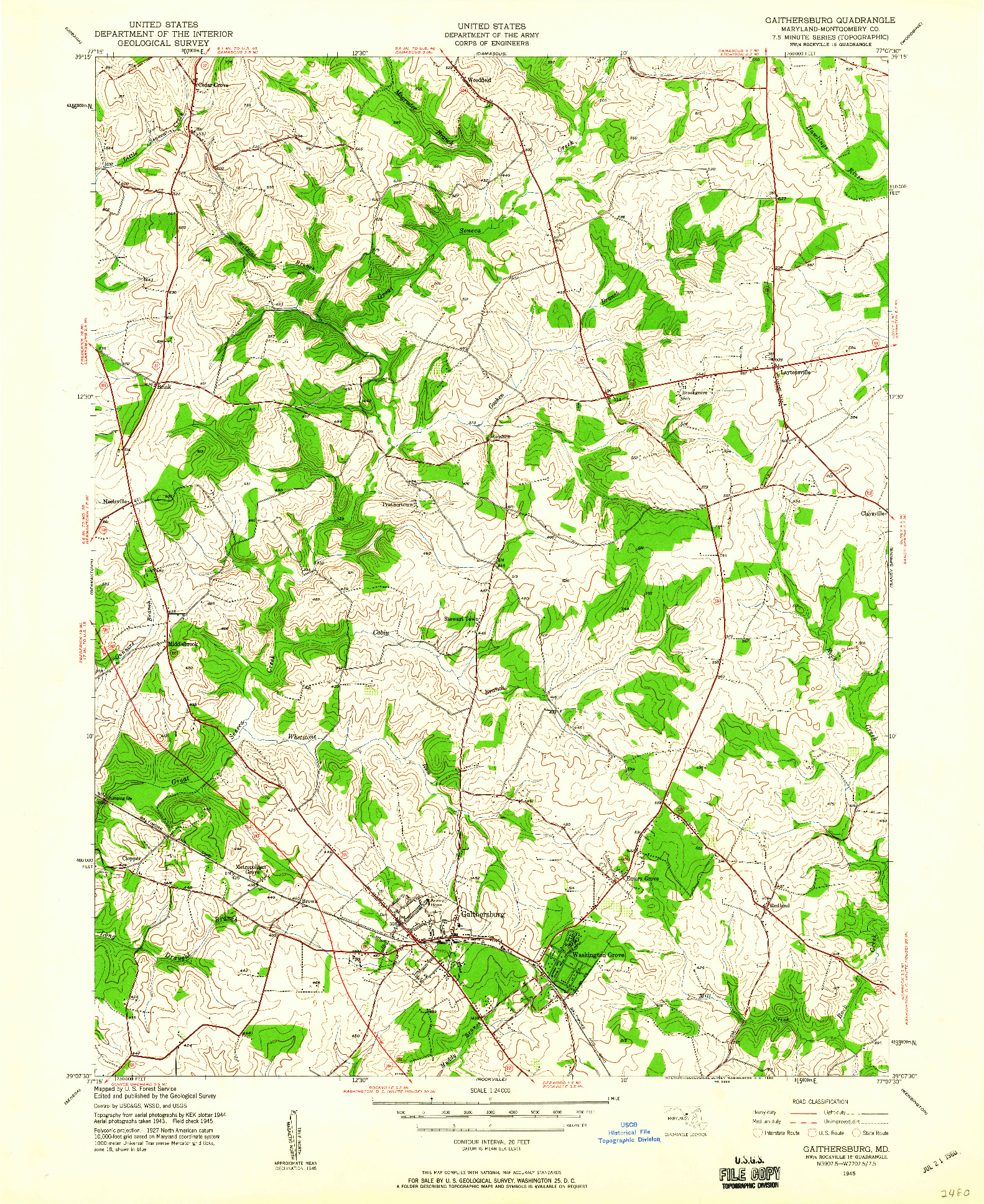 USGS 1:24000-SCALE QUADRANGLE FOR GAITHERSBURG, MD 1945