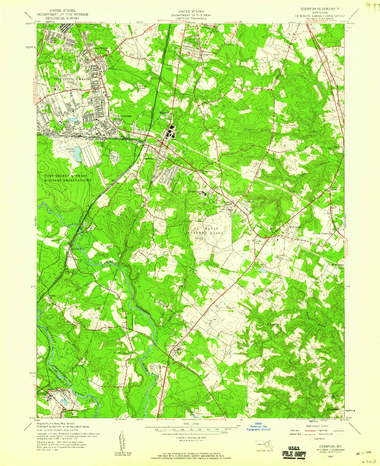 USGS 1:24000-SCALE QUADRANGLE FOR ODENTON, MD 1957