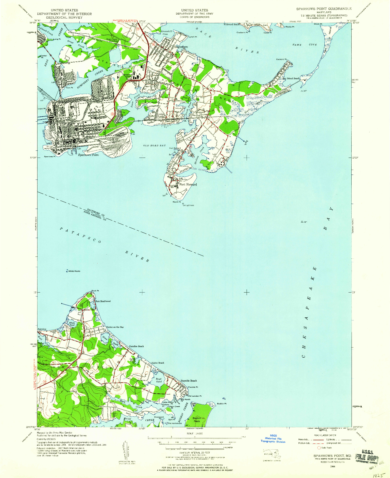 USGS 1:24000-SCALE QUADRANGLE FOR SPARROWS POINT, MD 1944
