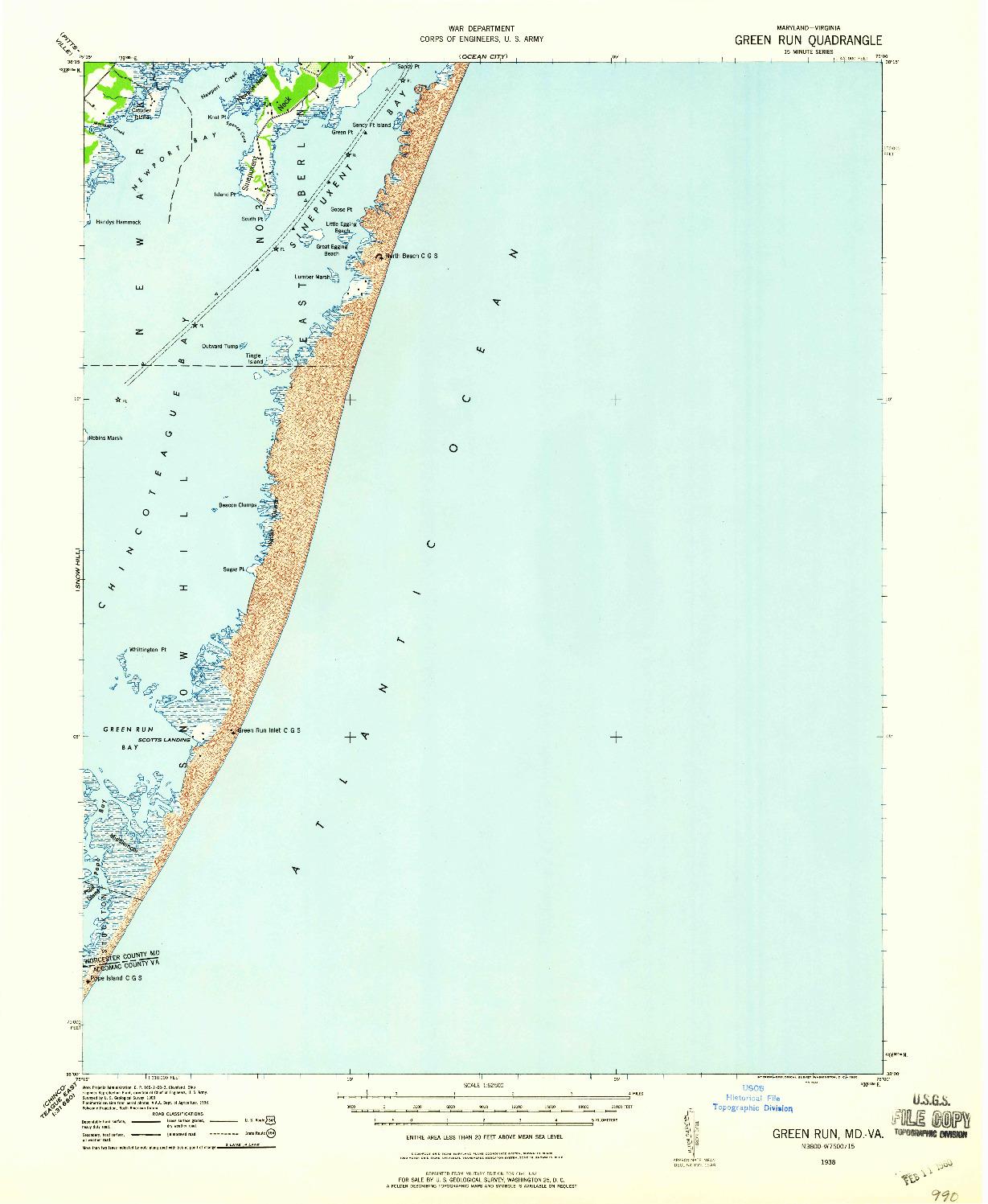 USGS 1:62500-SCALE QUADRANGLE FOR GREEN RUN, MD 1938