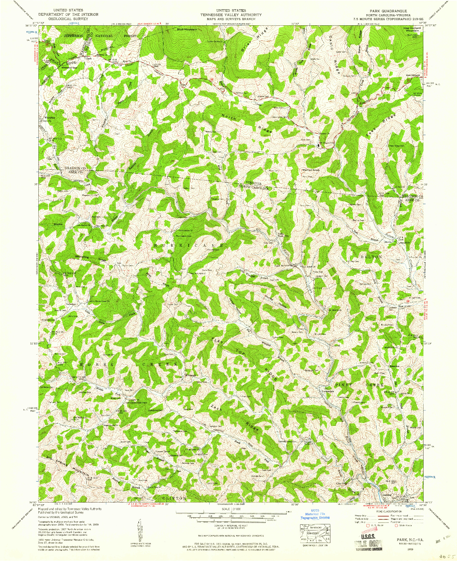 USGS 1:24000-SCALE QUADRANGLE FOR PARK, NC 1959