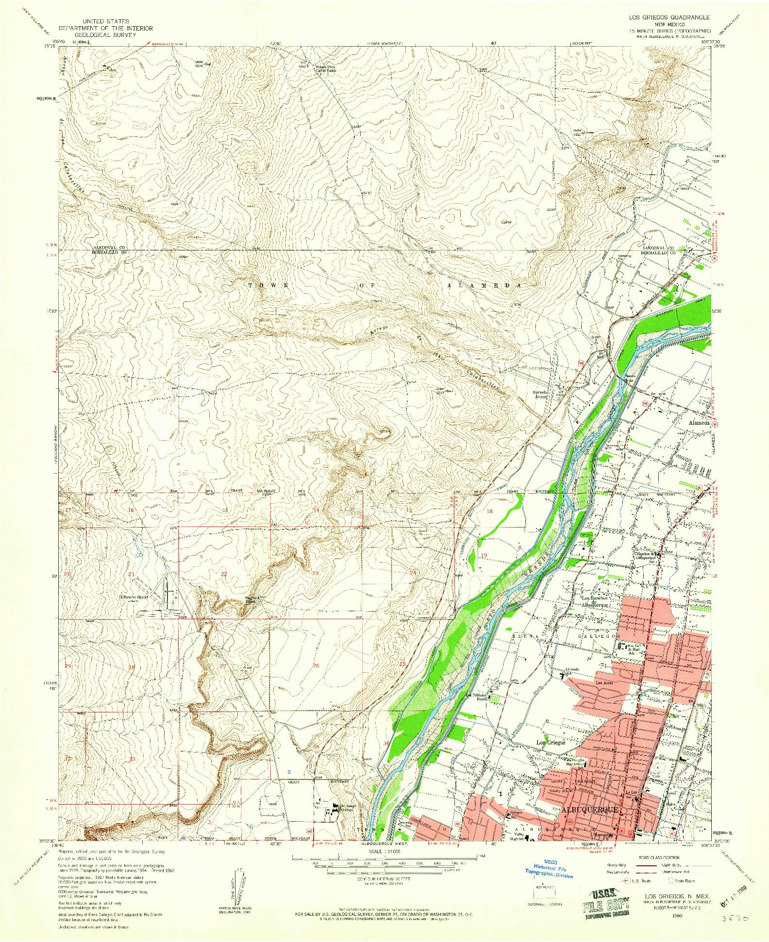 USGS 1:24000-SCALE QUADRANGLE FOR LOS GRIEGOS, NM 1960