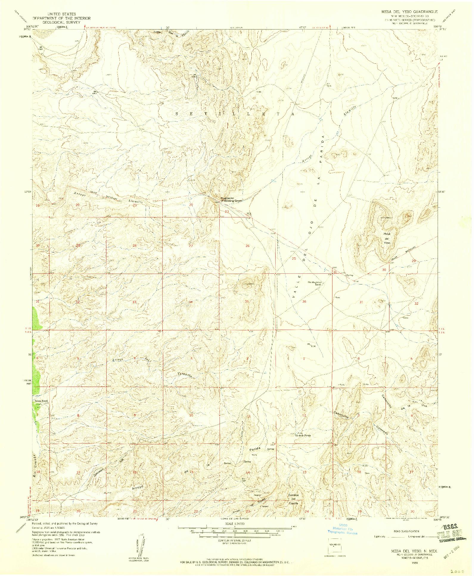 USGS 1:24000-SCALE QUADRANGLE FOR MESA DEL YESO, NM 1959