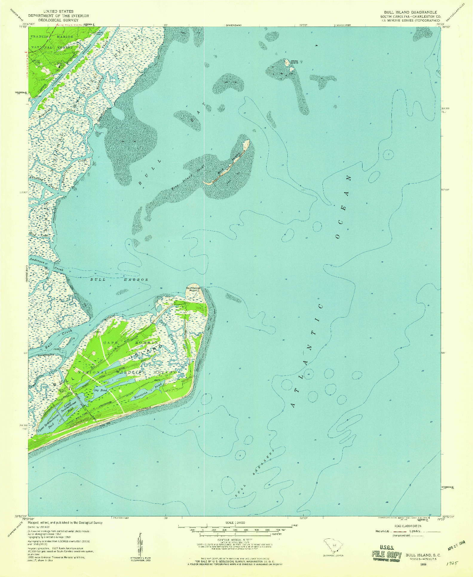 USGS 1:24000-SCALE QUADRANGLE FOR BULL ISLAND, SC 1959