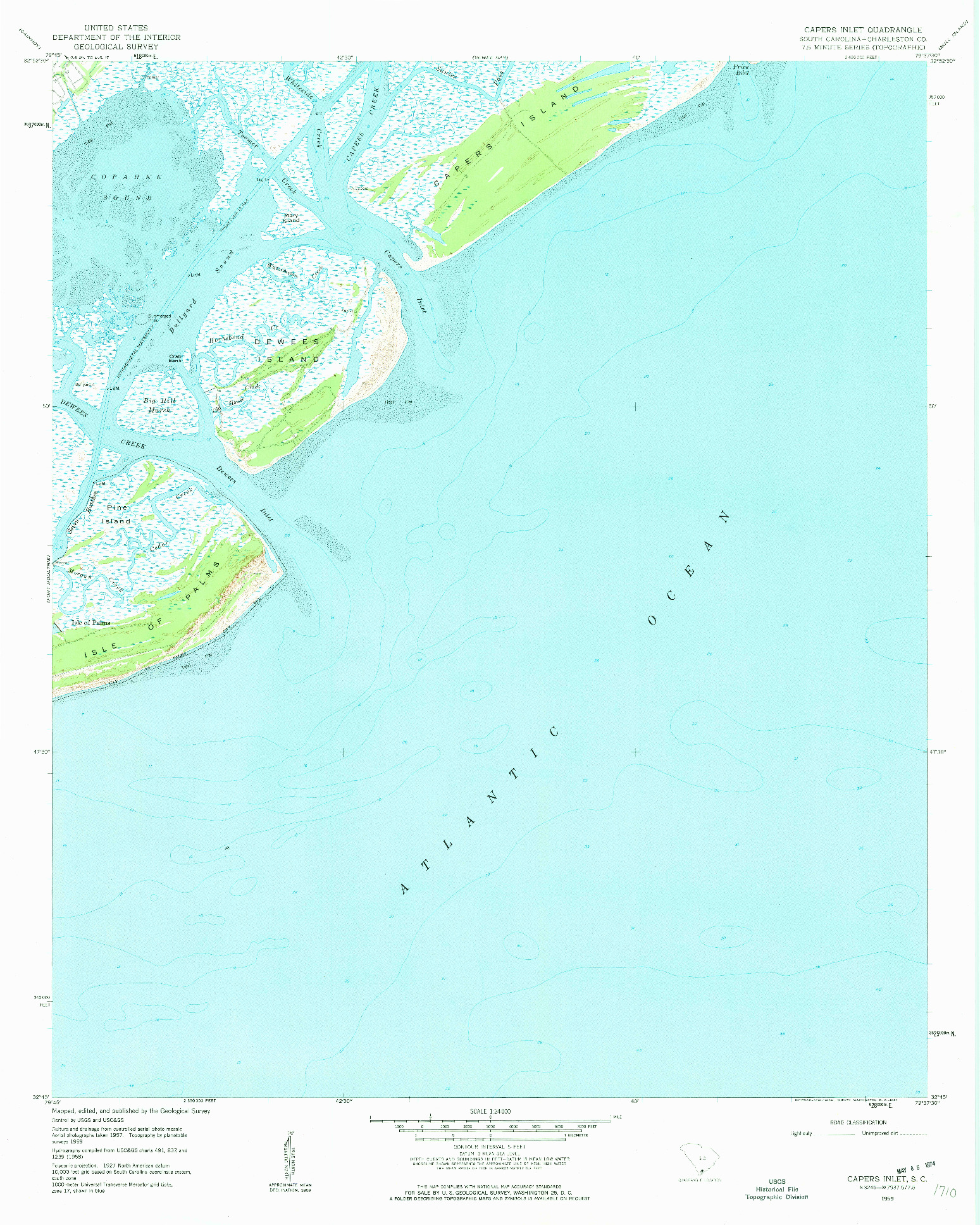 USGS 1:24000-SCALE QUADRANGLE FOR CAPERS INLET, SC 1959