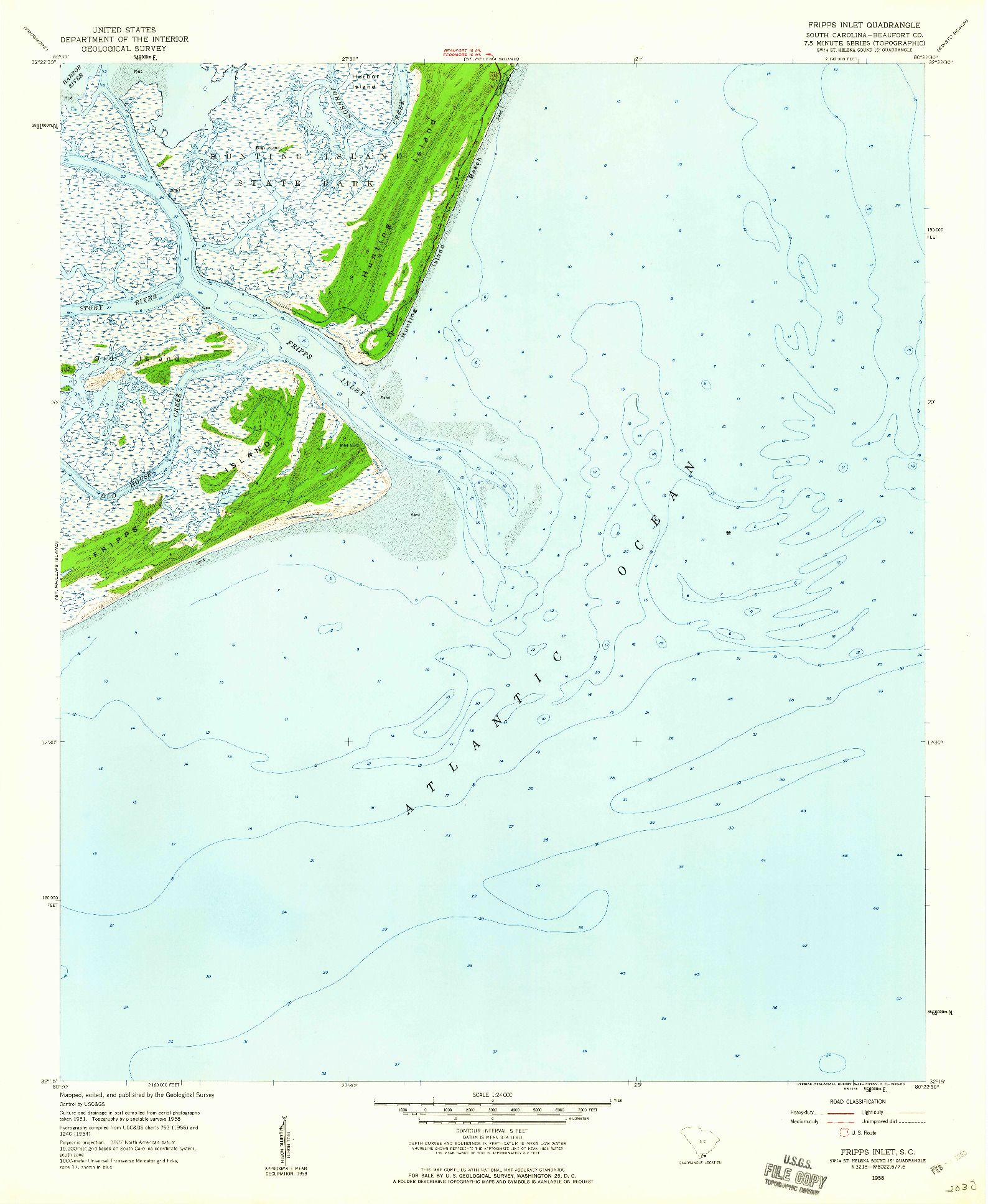 USGS 1:24000-SCALE QUADRANGLE FOR FRIPPS INLET, SC 1958