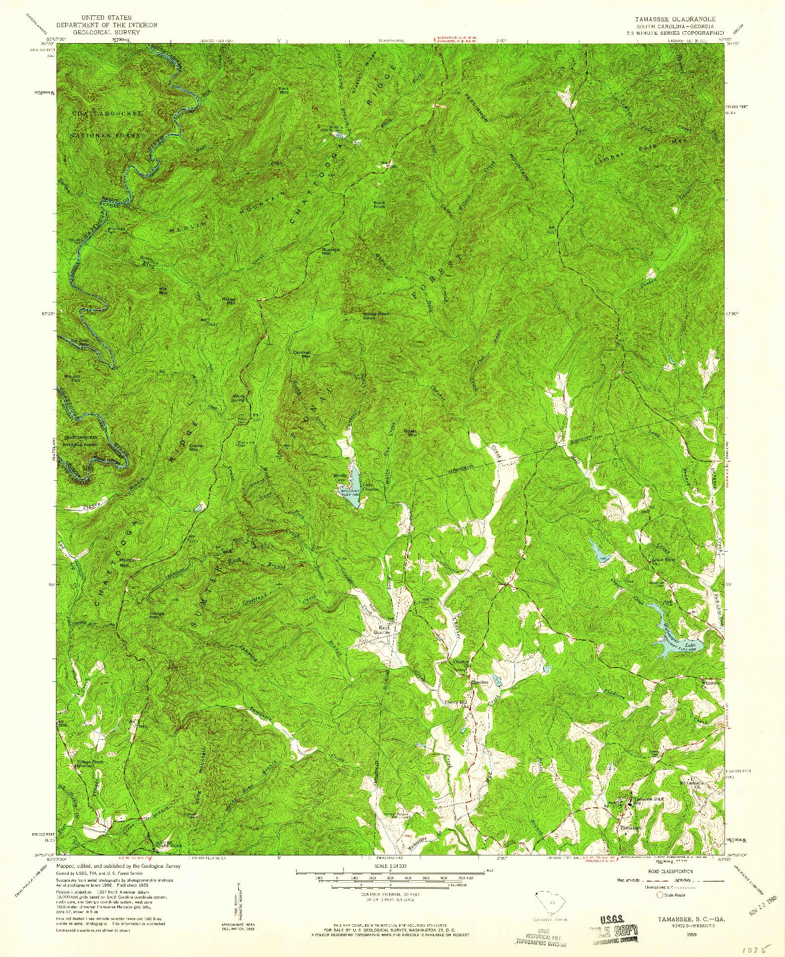 USGS 1:24000-SCALE QUADRANGLE FOR TAMASSEE, SC 1959