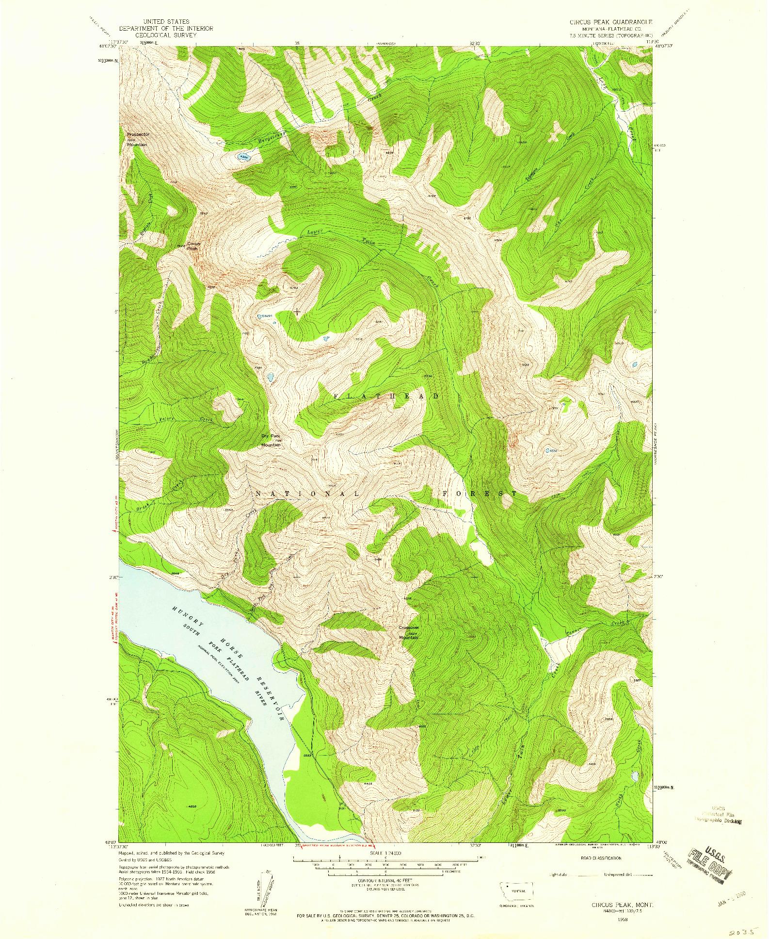 USGS 1:24000-SCALE QUADRANGLE FOR CIRCUS PEAK, MT 1958