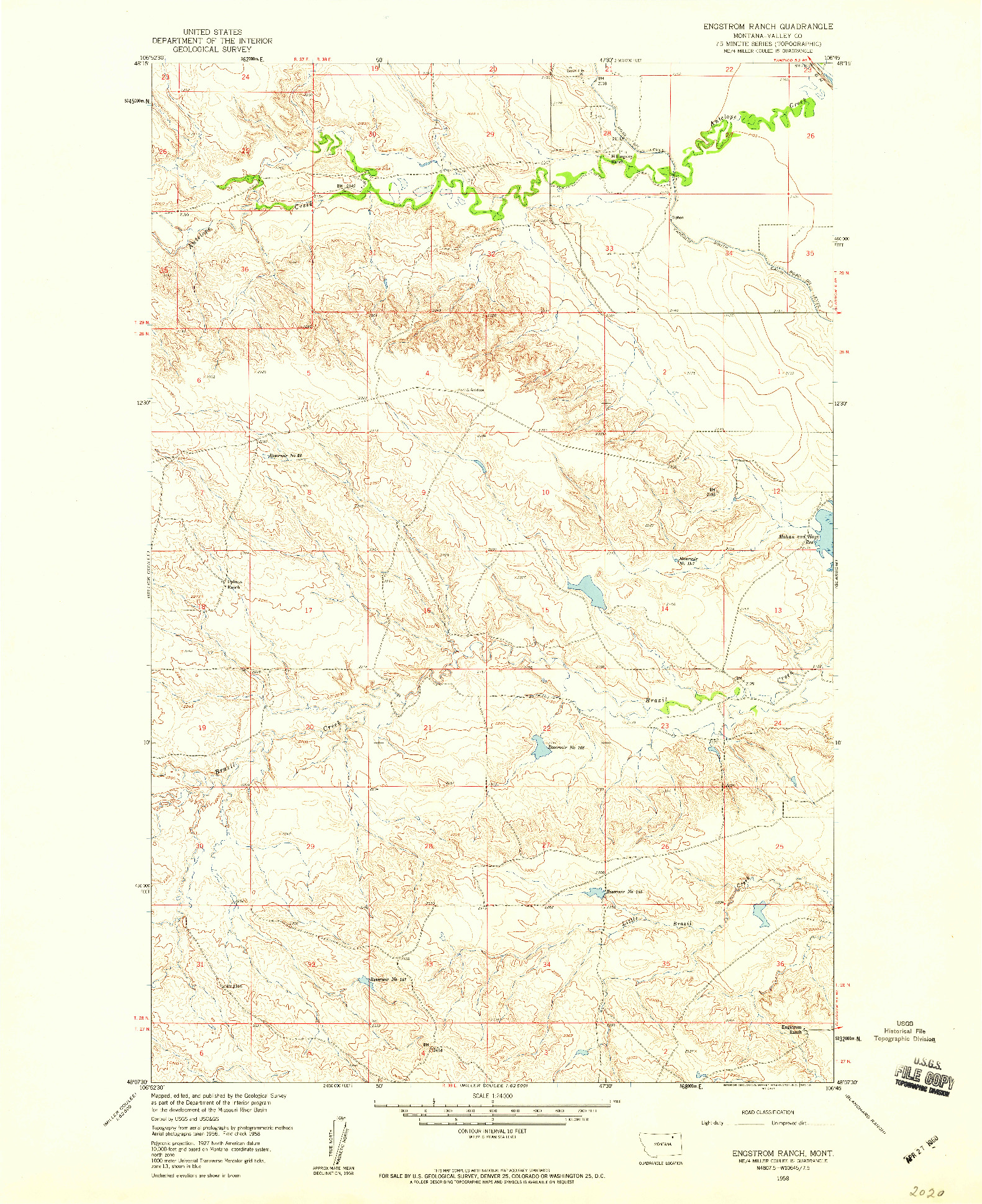 USGS 1:24000-SCALE QUADRANGLE FOR ENGSTROM  RANCH, MT 1958