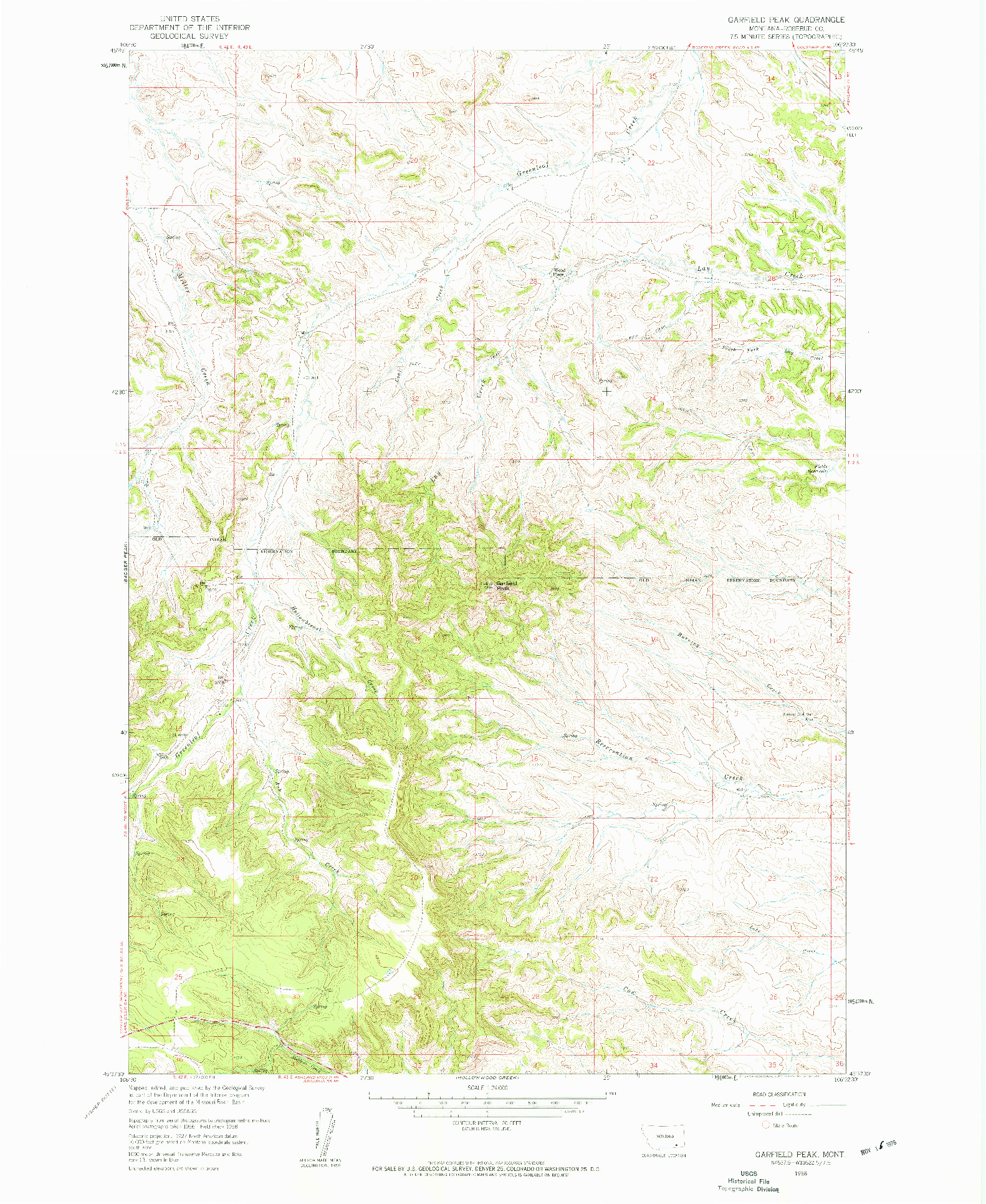 USGS 1:24000-SCALE QUADRANGLE FOR GARFIELD PEAK, MT 1958