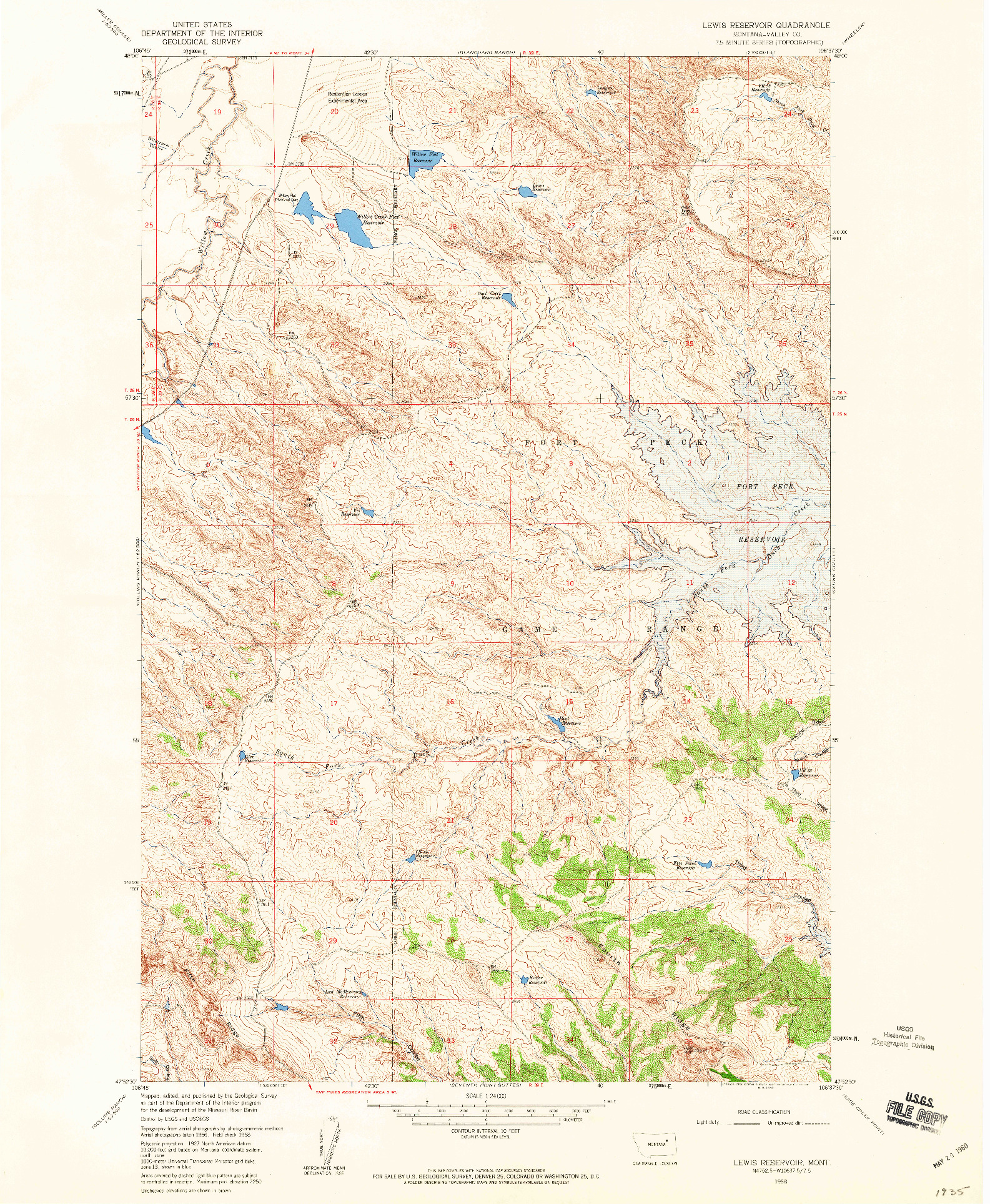 USGS 1:24000-SCALE QUADRANGLE FOR LEWIS RESERVOIR, MT 1958