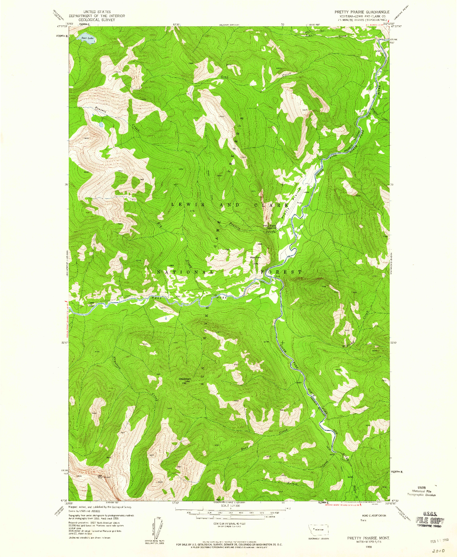 USGS 1:24000-SCALE QUADRANGLE FOR PRETTY PRAIRIE, MT 1958