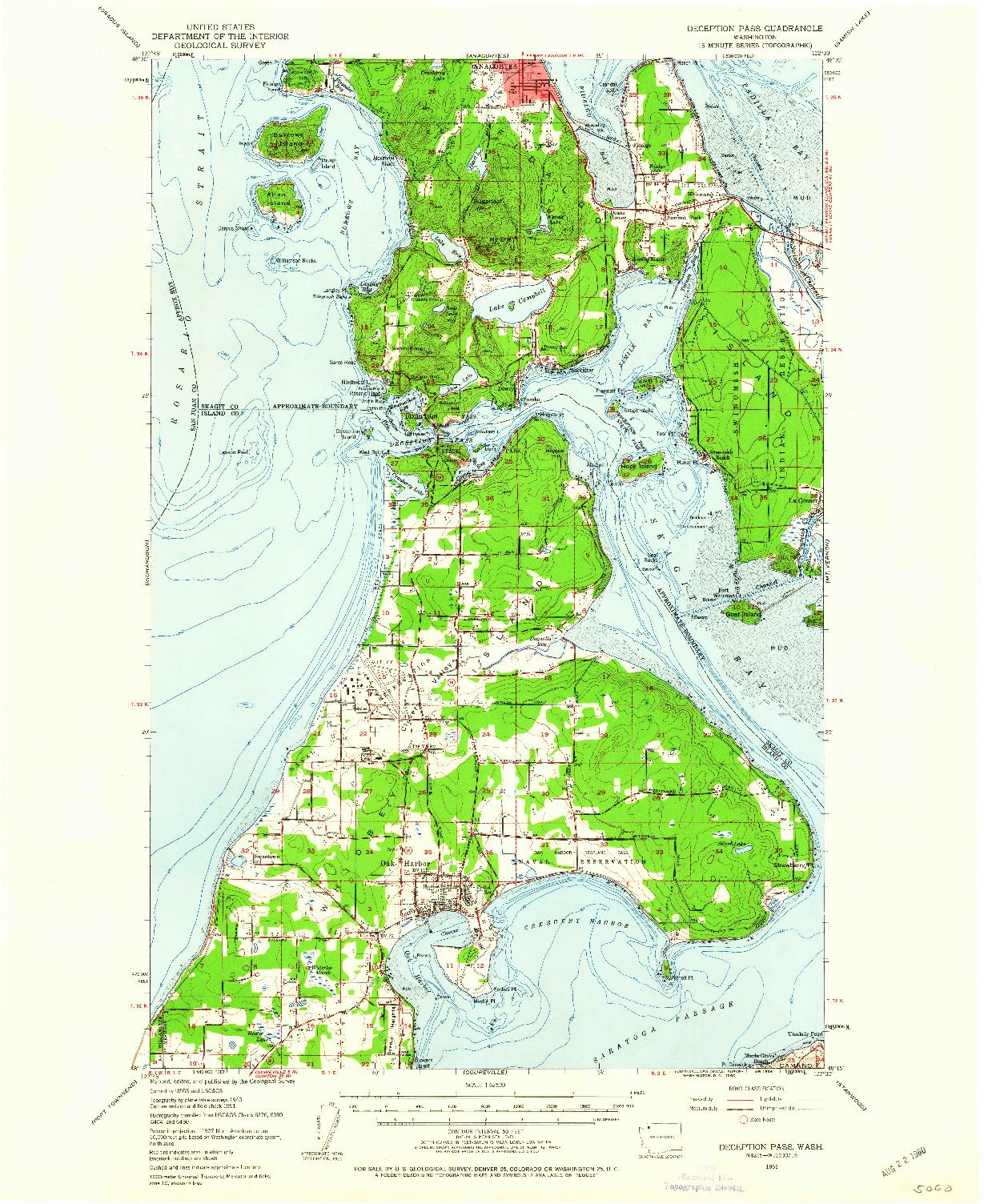 USGS 1:62500-SCALE QUADRANGLE FOR DECEPTION PASS, WA 1951