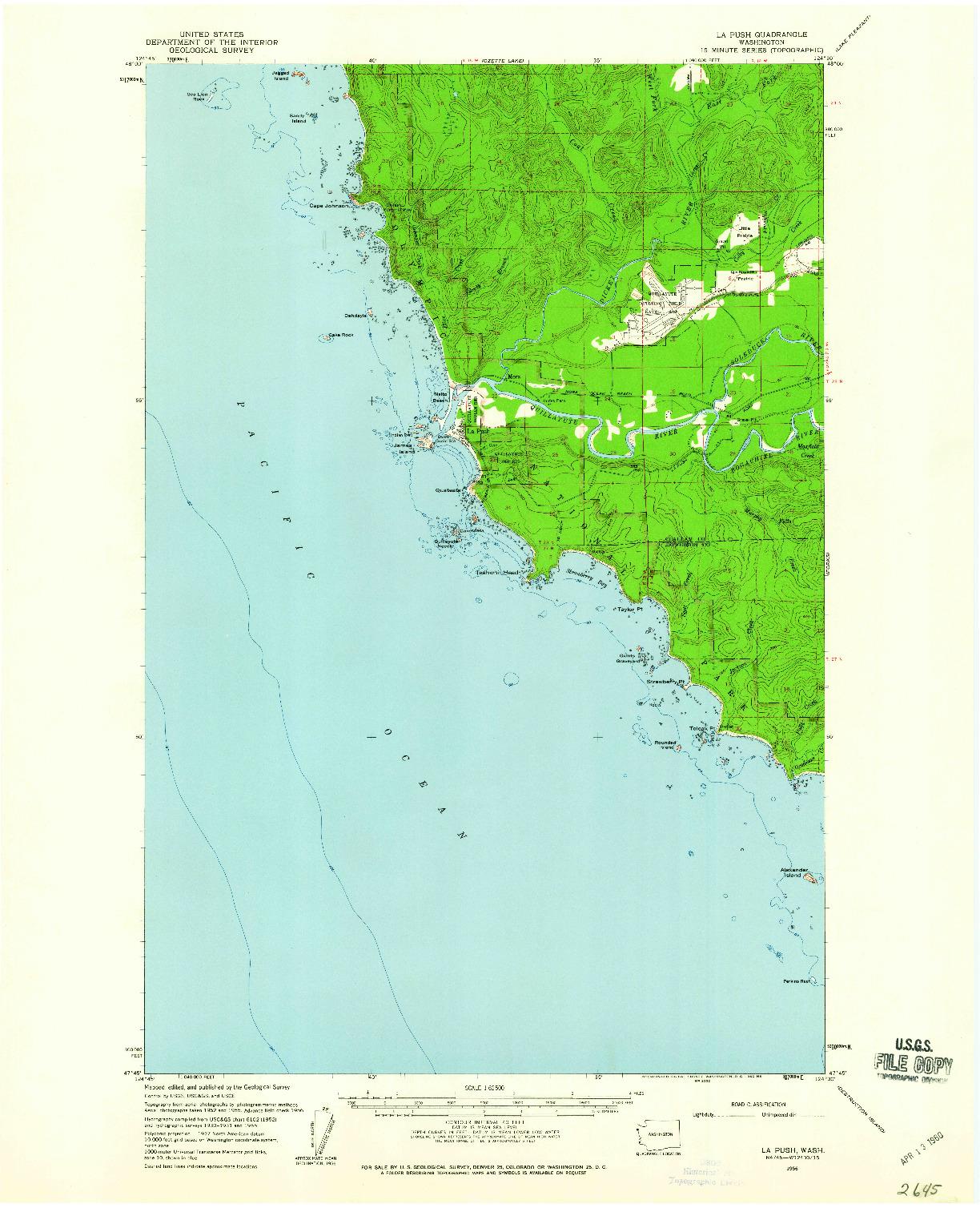 USGS 1:62500-SCALE QUADRANGLE FOR LA PUSH, WA 1956