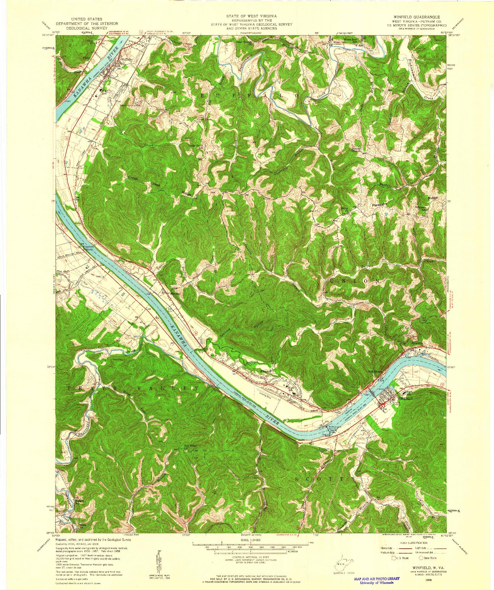 USGS 1:24000-SCALE QUADRANGLE FOR WINFIELD, WV 1958