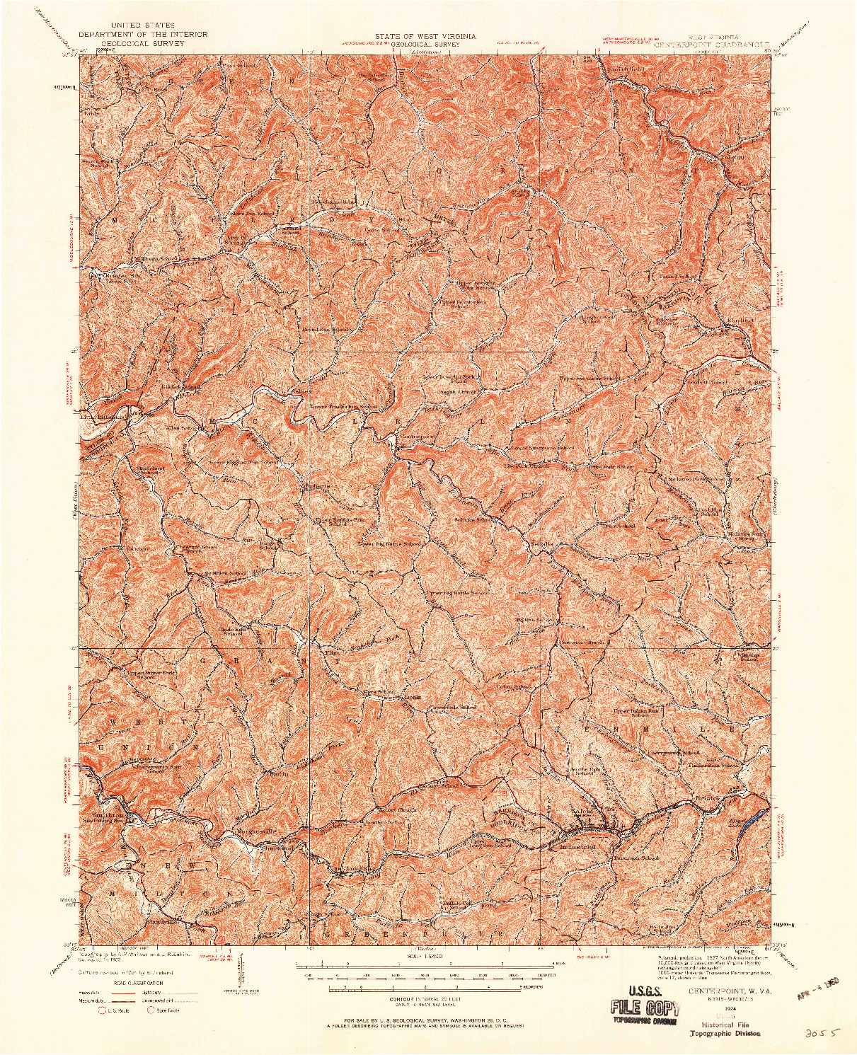 USGS 1:62500-SCALE QUADRANGLE FOR CENTERPOINT, WV 1924
