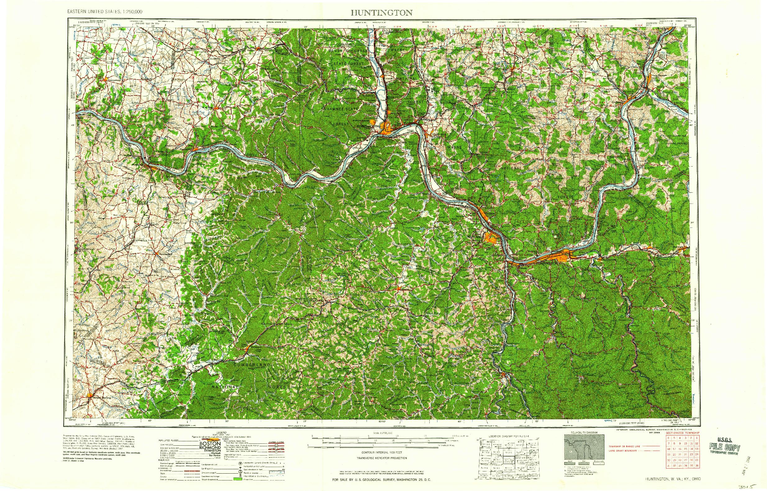 USGS 1:250000-SCALE QUADRANGLE FOR HUNTINGTON, WV 1960