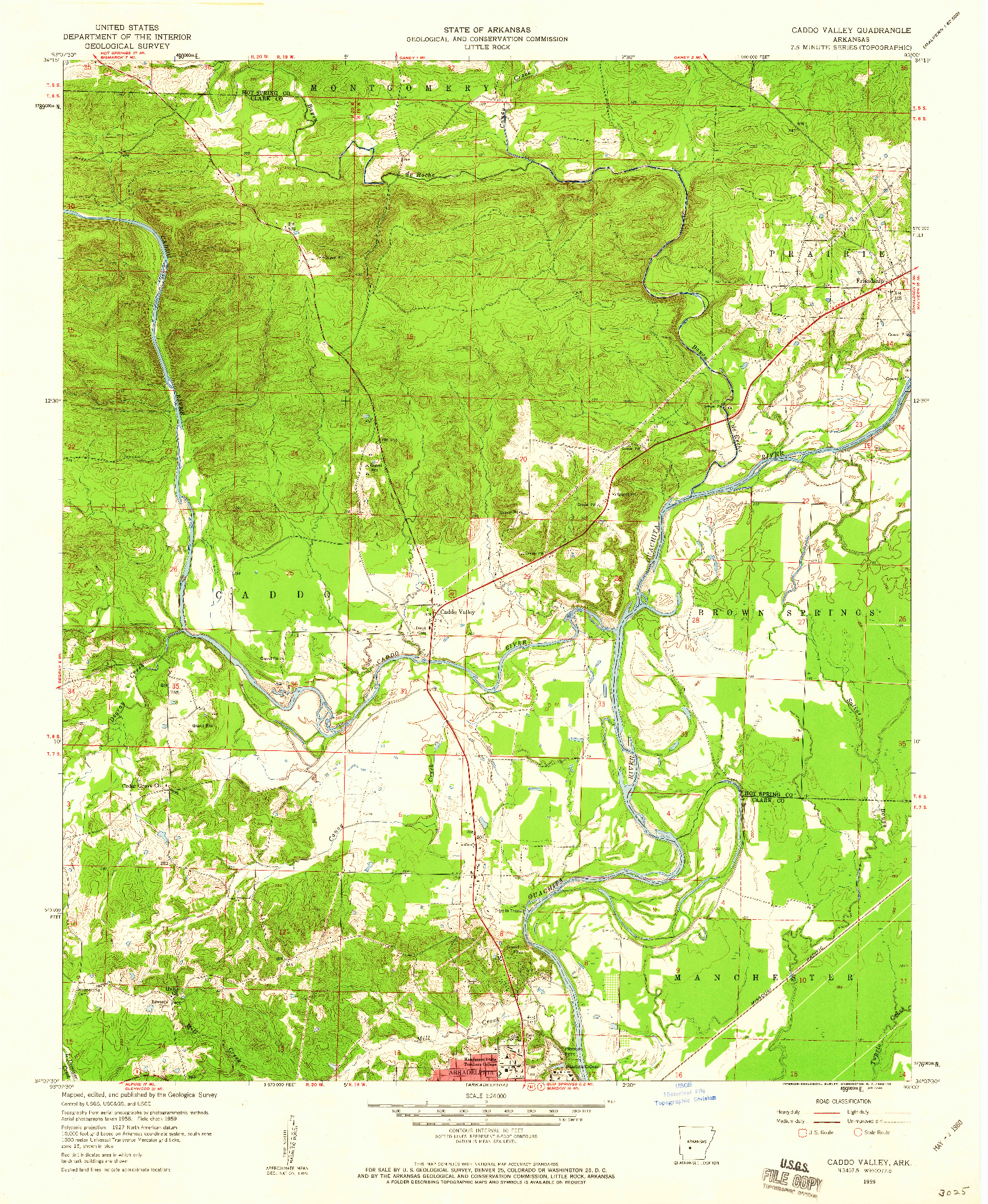 USGS 1:24000-SCALE QUADRANGLE FOR CADDO VALLEY, AR 1959
